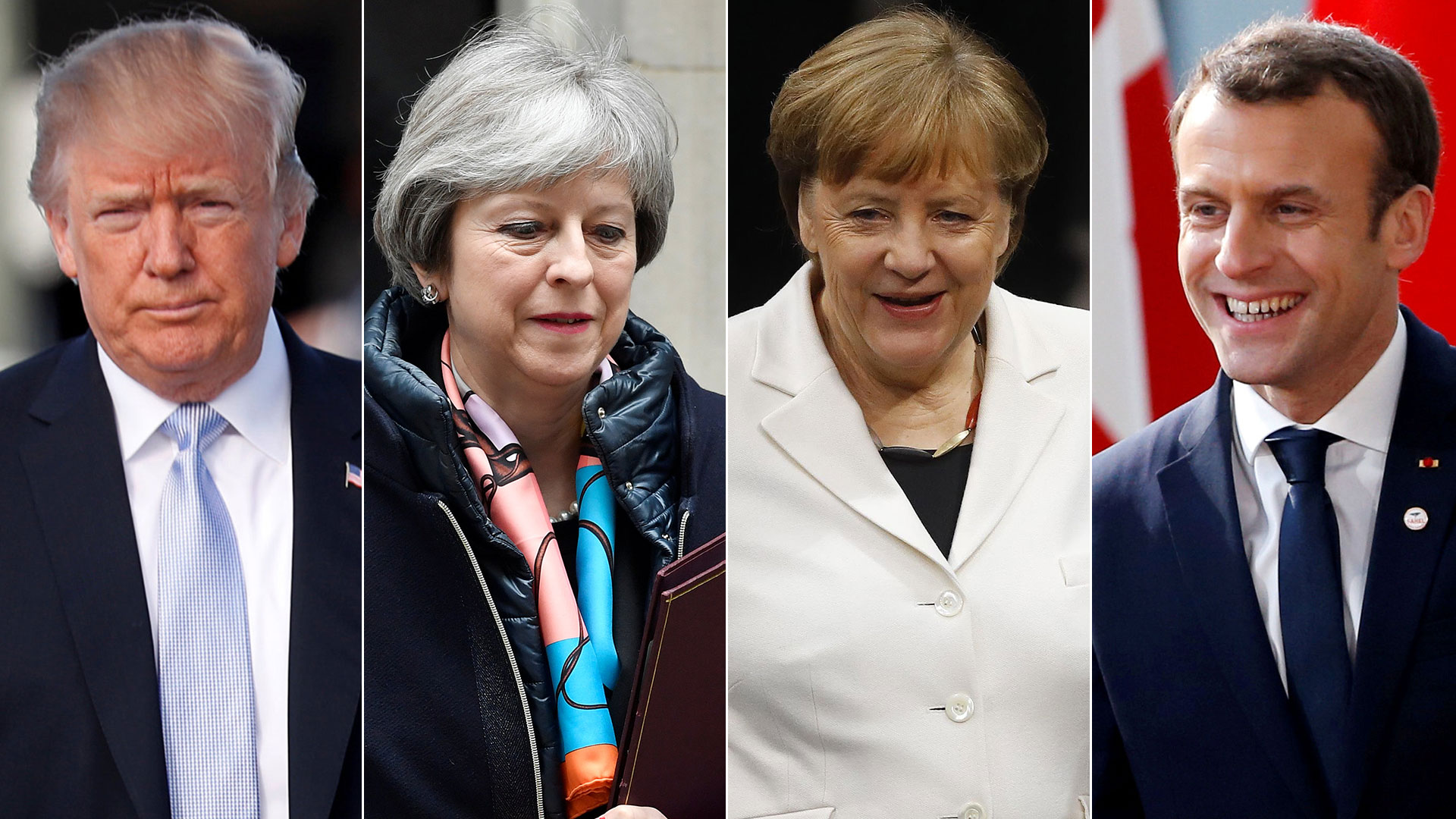 El gesto llega en un momento de tensiones entre aliados europeos y norteamericanos. En la foto: Donald Trump (EEUU), Theresa May (Reino Unido), Angela Merkel (Alemania) y Emmanuel Macron (Francia)