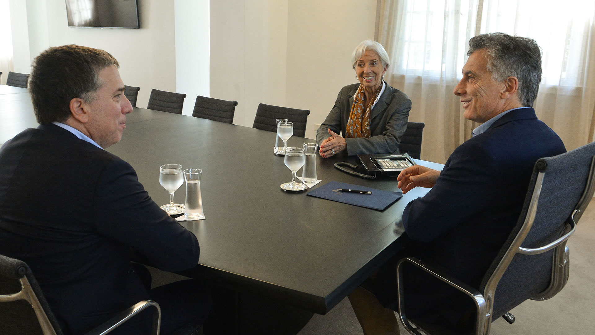 Dujovne, Lagarde y Macri, en Buenos Aires, en marzo pasado