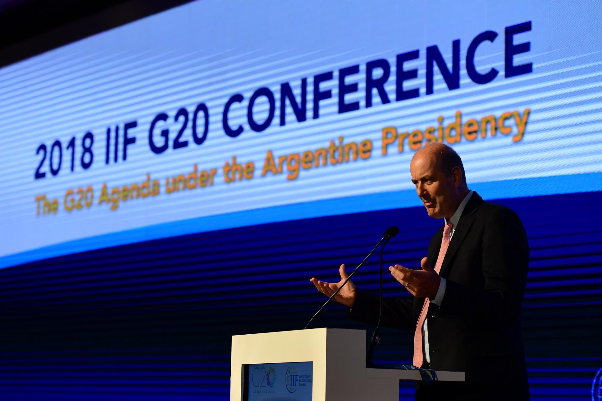 Sturzenegger, titular del Banco Central, en su discurso frente al IIF el día antes de las reuniones entre ministros de Hacienda y presidentes de Banco Centrales de G-20(Maximiliano Luna)