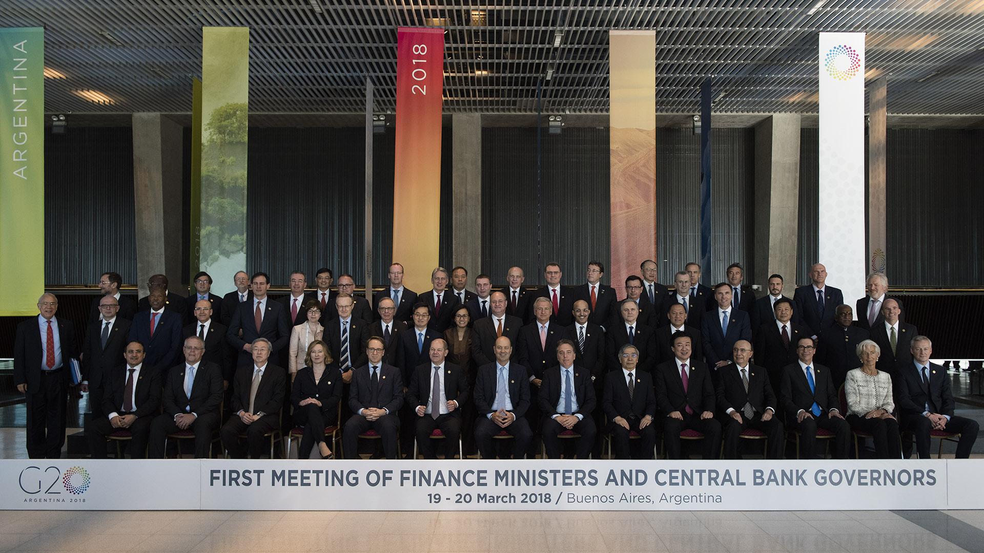 Los ministros de Finanzas y presidentes de Bancos Centrales del G20, reunidos en Buenos Aires, en marzo pasado (Adrián Escandar)