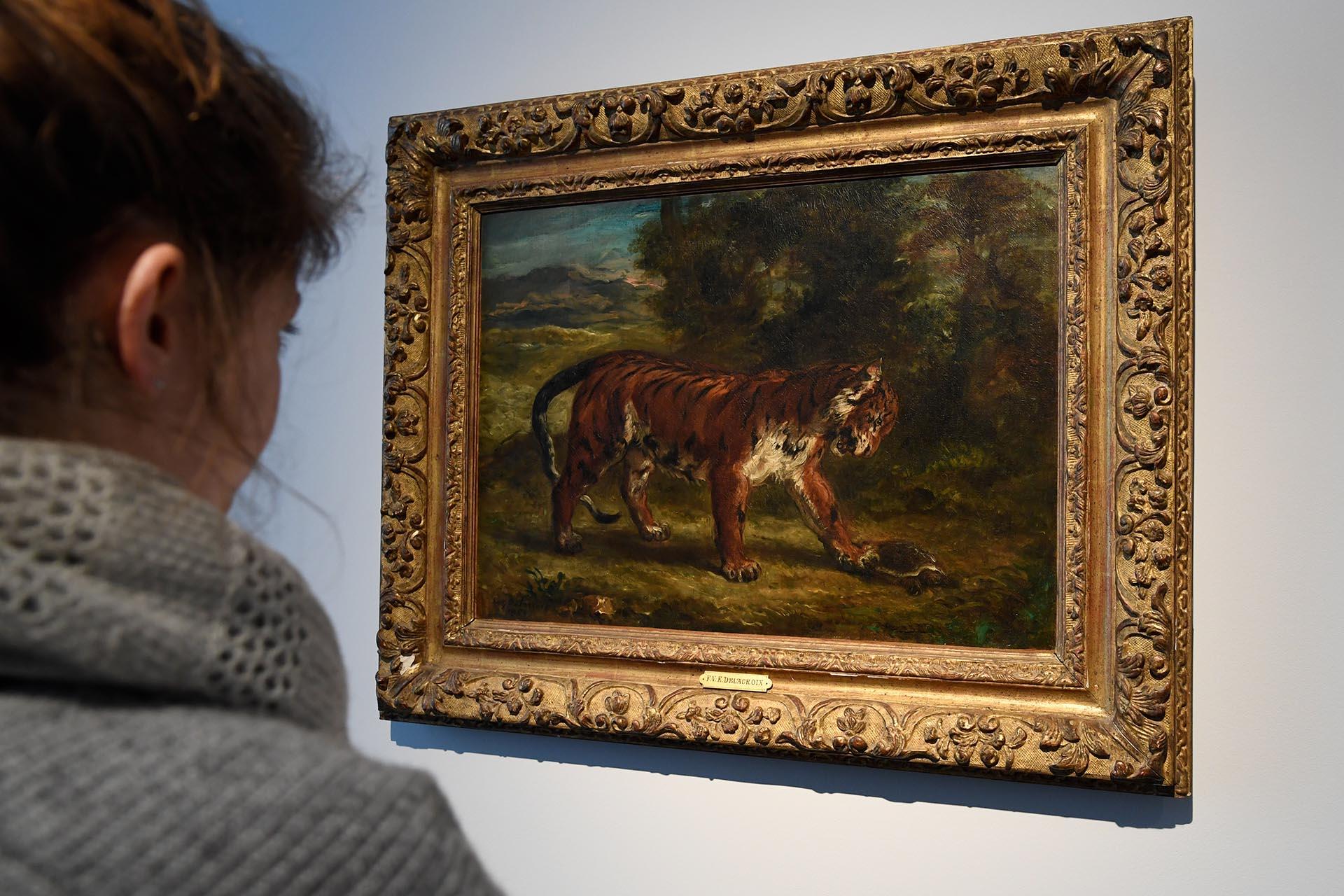 """""""Tigre jugando con una tortuga"""" (1862), por Eugene Delacroix, valuada en USD 7 millones (AFP)"""