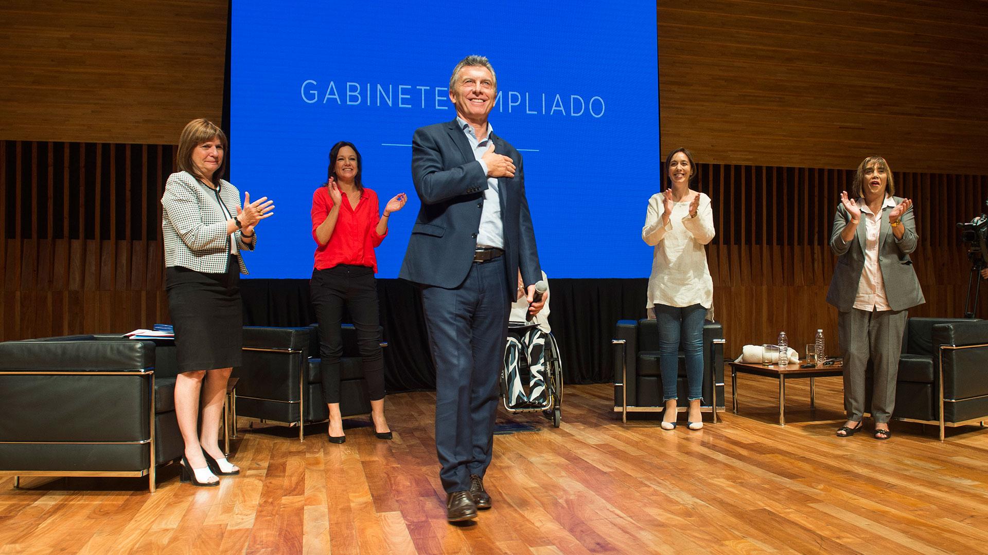 Mauricio Macrien marzo, en la primera reunión de gabinete ampliado de mujeres, en el CCK (Foto: Prensa Presidencia)