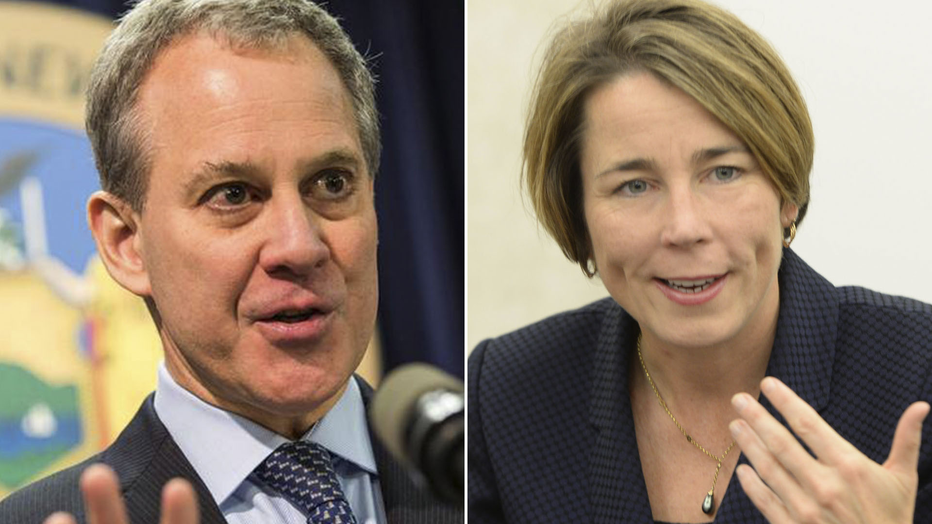 El fiscal general de Nueva York, Eric Schneiderman, y la fiscal general de Massachusetts, Maura Healey