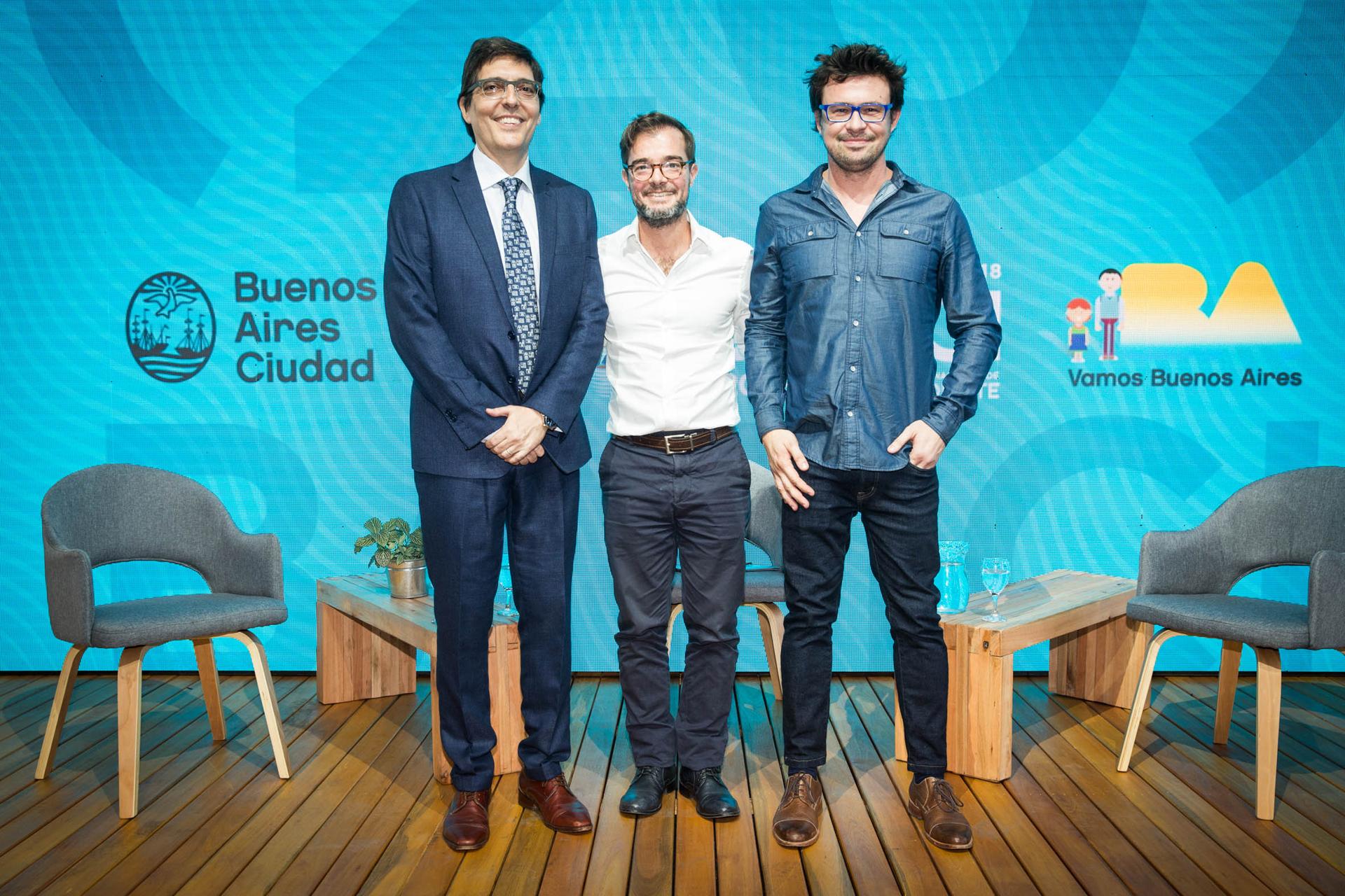 Fernando Juan Lima (Vicepresidente del INCAA), Enrique Avogadro (Ministro de Cultura de la Ciudad) y Javier Porta Fouz (Director Artístico BAFICI) en la presentación del festival en la Usina del Arte