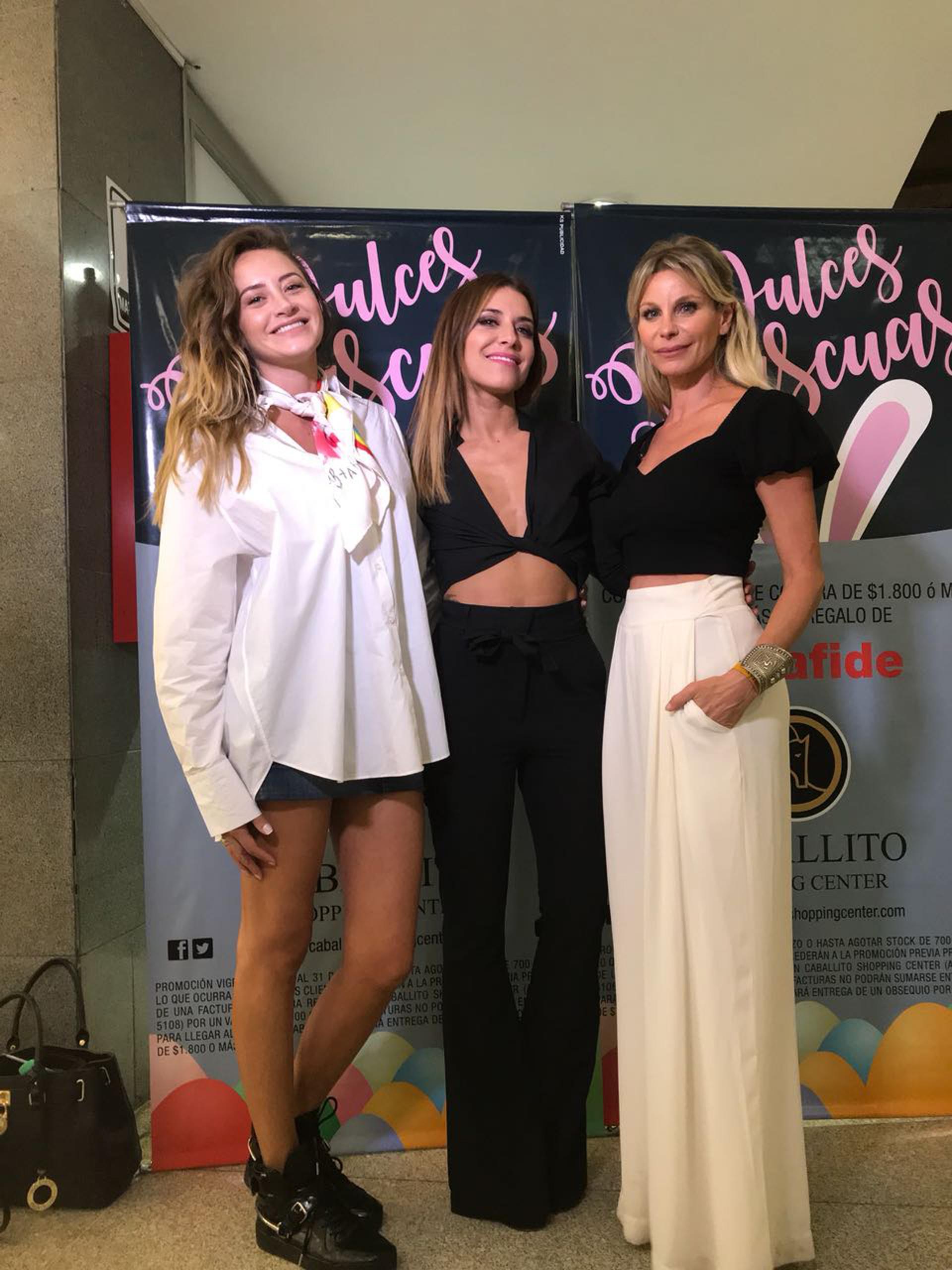 Melina Gadano Mariana Brey y Jimena Cyrulnik se muestran felices tras la compra de las promociones del reconocido centro comercial