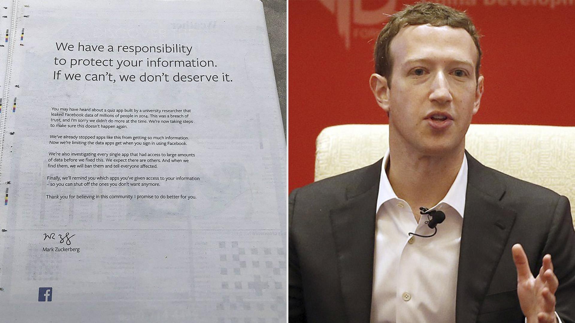 Mark Zuckerberg se disculpó en una carta por la conducta de su compañía con los datos de sus usuarios.