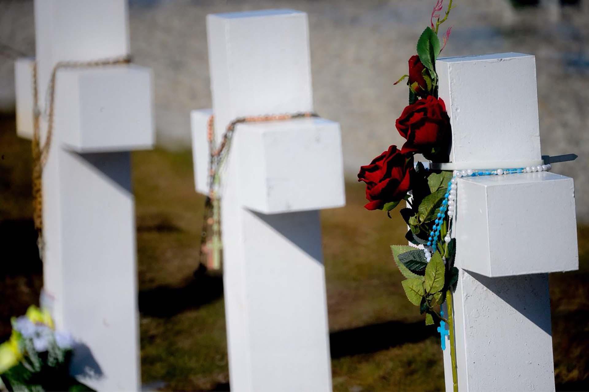 En cada cruz se pusieron flores blancas, amarillas y solo algunas rojas. de todas ellas colgaban rosarios de colores (Foto: Presidencia de la Nación/Secretaria DDHH/ Víctor Bugge)