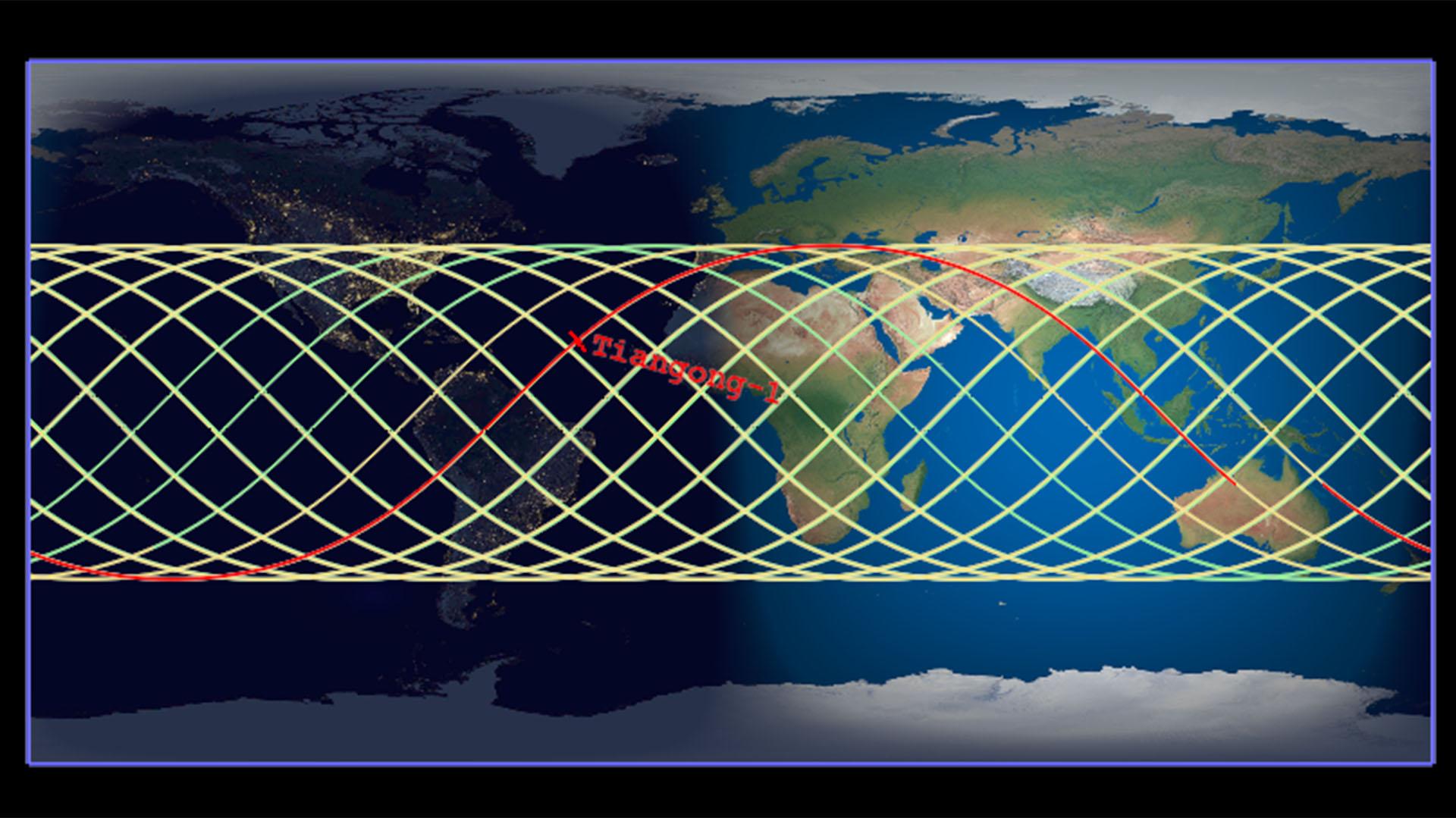 La trayectoria de Tiangong-1. El punto rojo indica el lugar donde se encontraba este viernes
