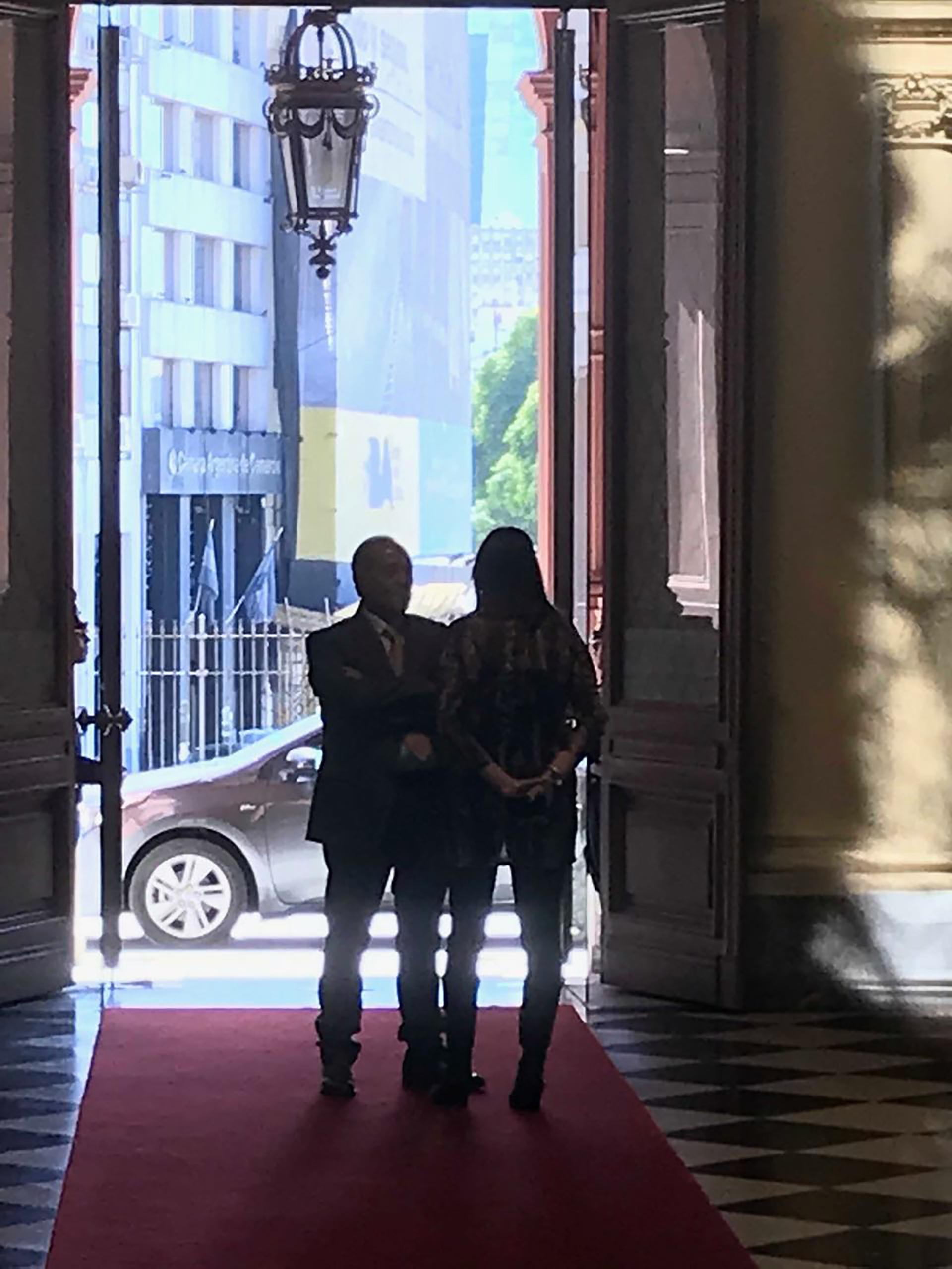 Adolfo Rodríguez Saá al llegar a la Casa Rosada