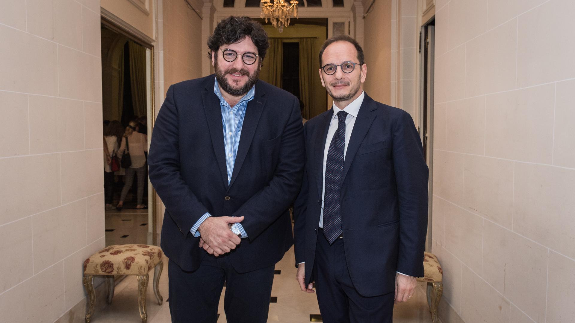 Pablo Avelluto, ministro de Cultura de la Nación fue recibido por el embajador italiano en Argentina, Giuseppe Manzo