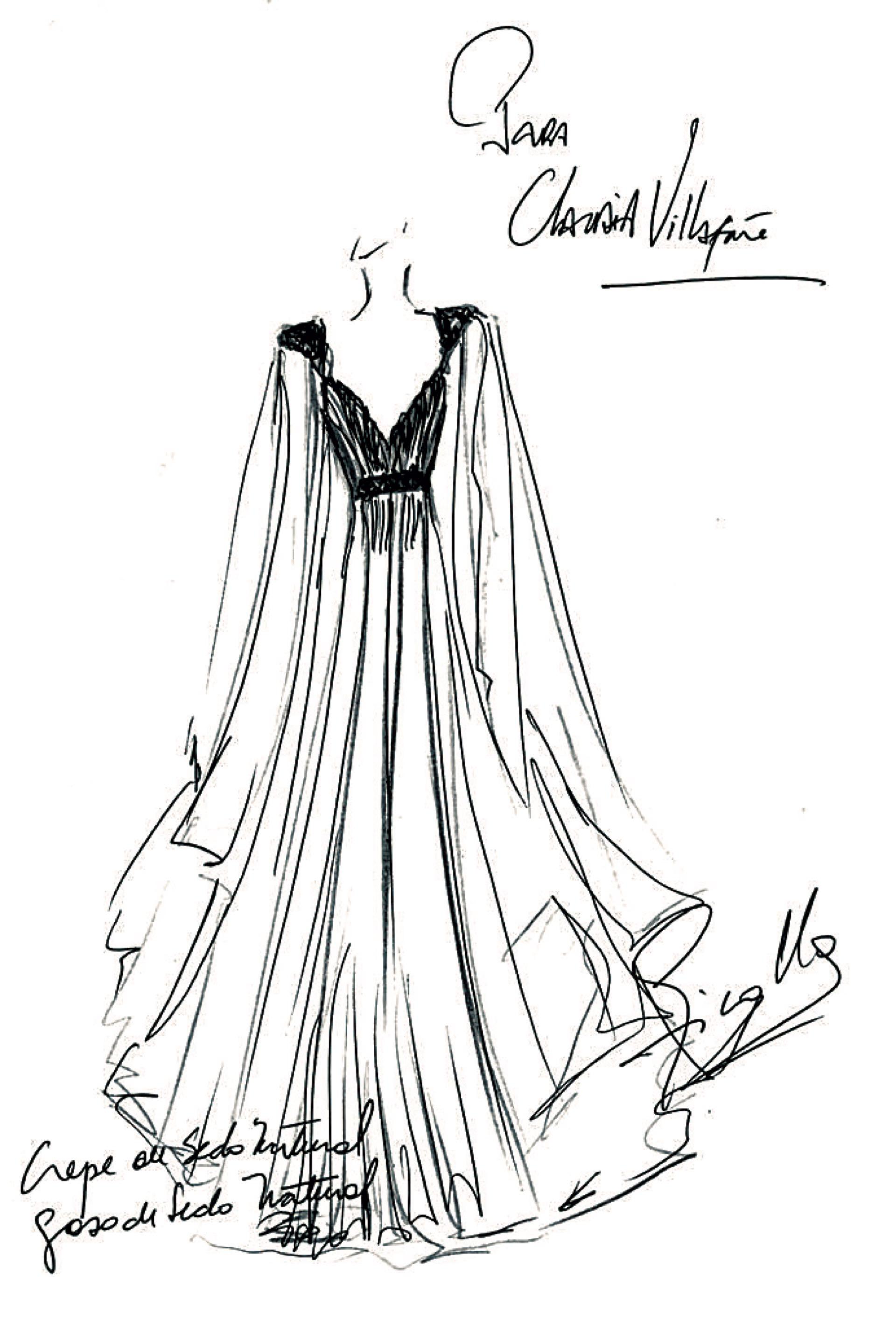 Boceto del outfit de Claudia, ideado por Ivana Picallo: un vestido de gasa de seda natural color acero drapeado con un cinturón de cristales y mangas desmontables.