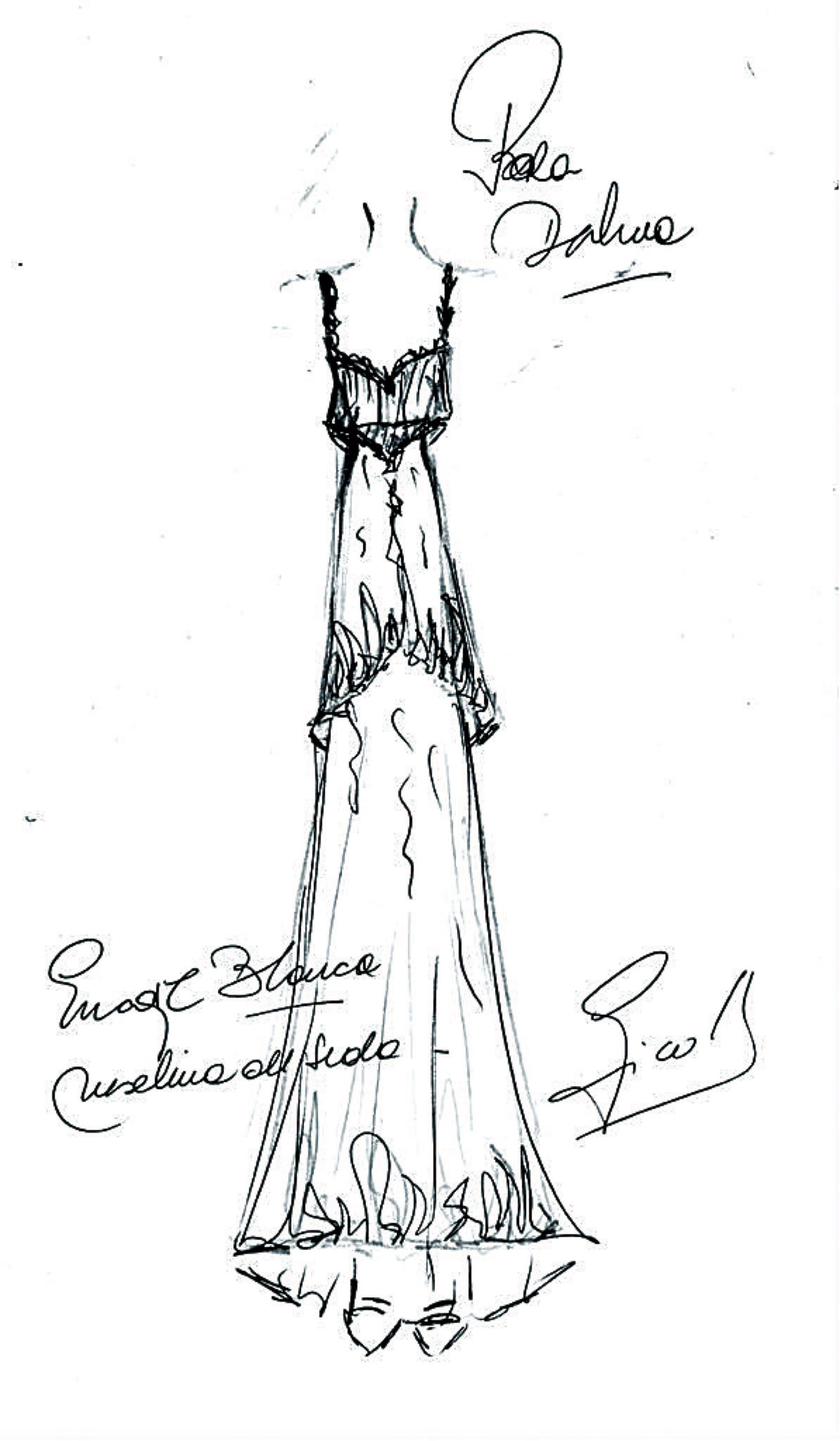 """El boceto de la diseñadora Ivana Picallo, responsable del segundo cambio de la novia (""""un vestido más liviano""""), a quien ya había lookeado para sus quince."""