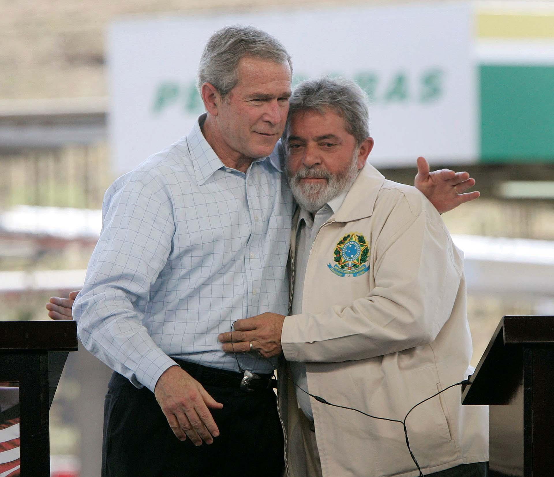 En marzo de 2007, Lula recibió al entonces presidente de los Estados Unidos, George W. Bush, en San Pablo(Reuters/Jason Reed)