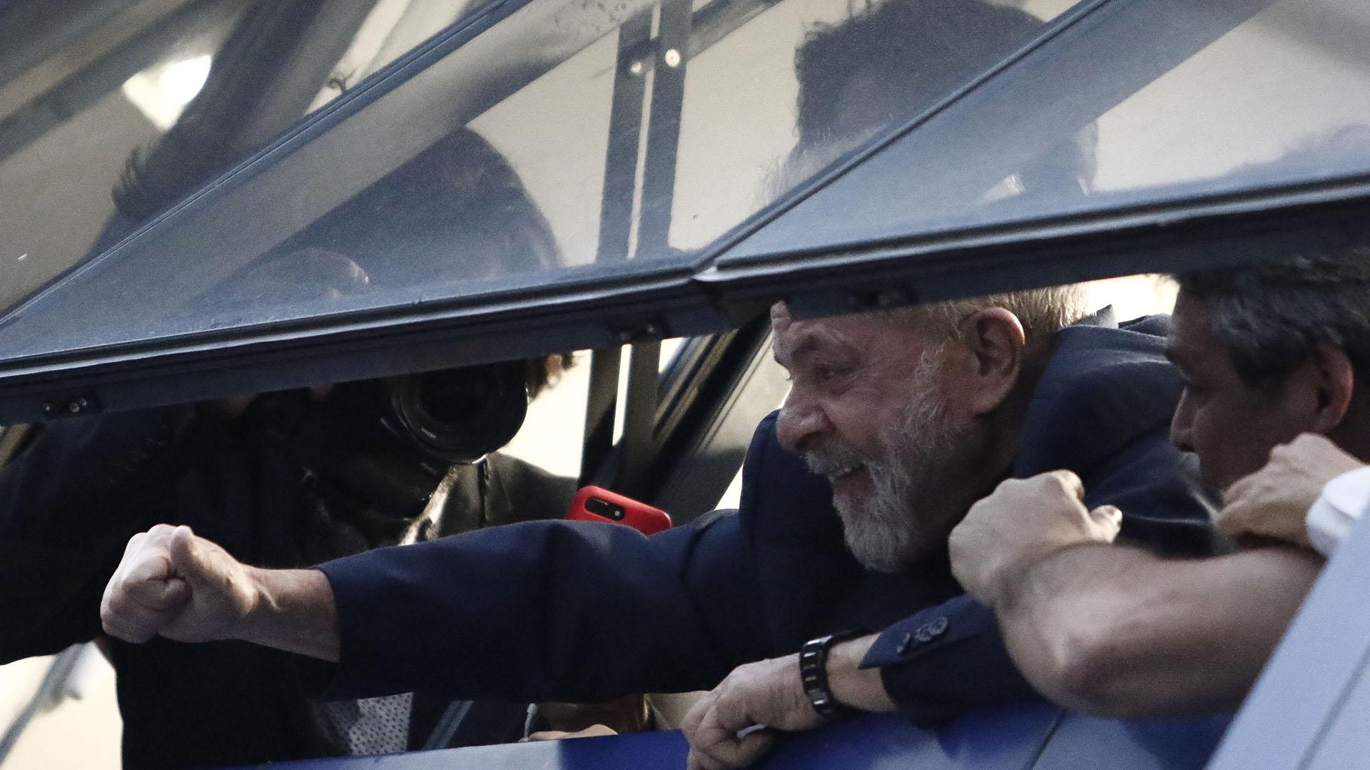 El ex presidente desde el Sindicato de Metalúgicos de Sao Paulo (AFP)