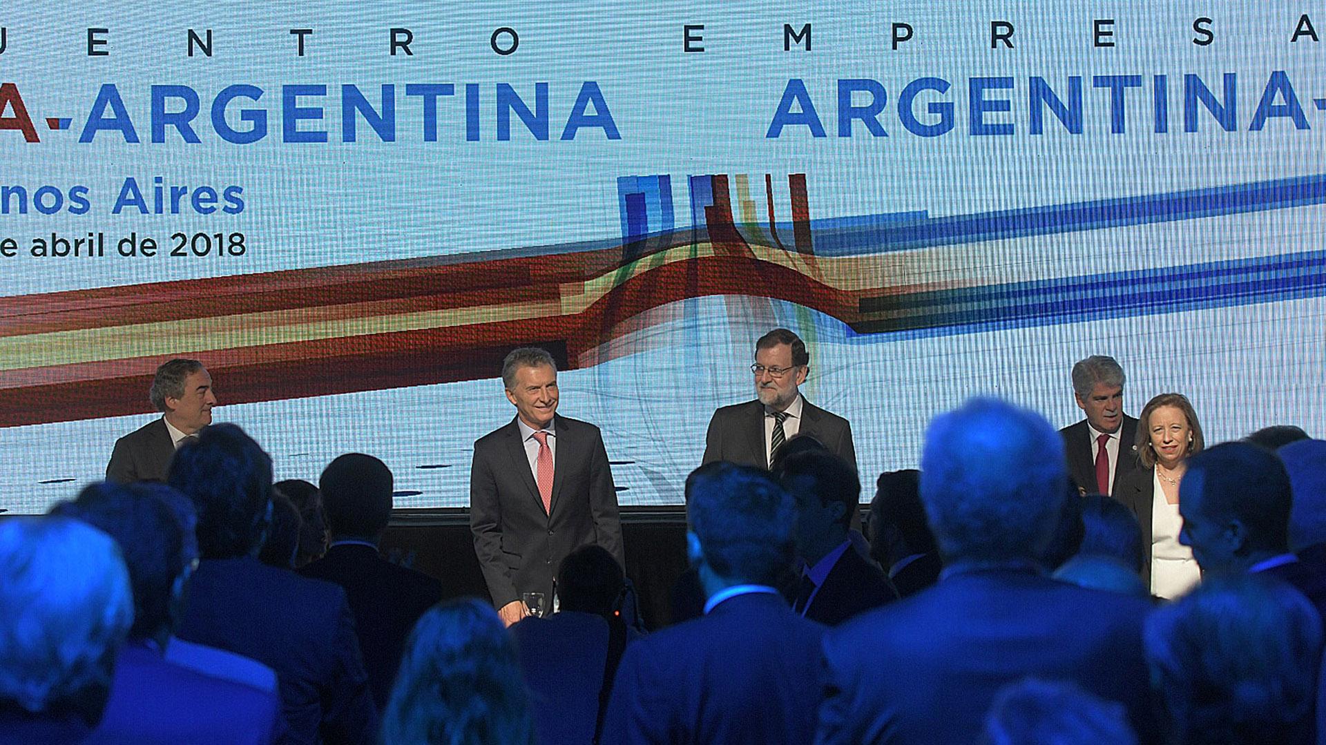 """Mauricio Macri y Mariano Rajoy, en la apertura del Encuentro Empresarial """"Argentina-España."""
