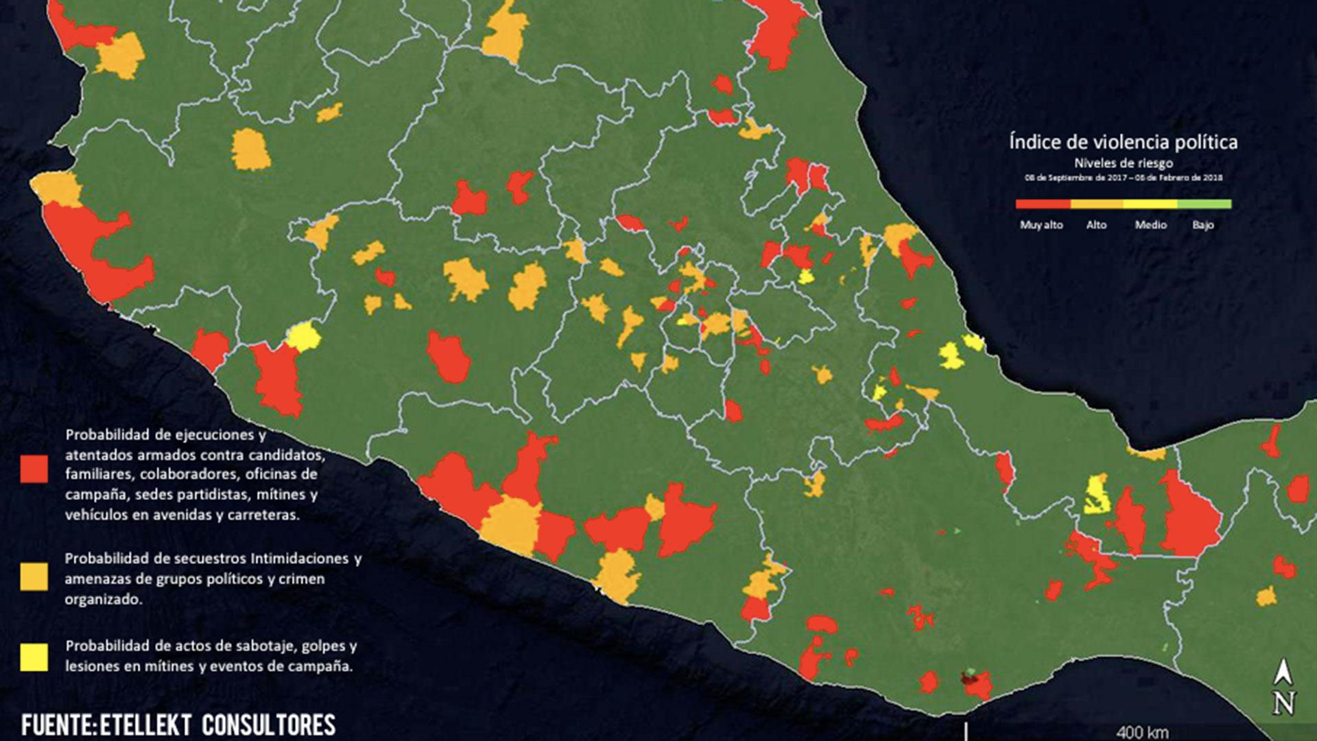 En el mapa de la violencia política destacan sobre todo los municipios de la zona sur