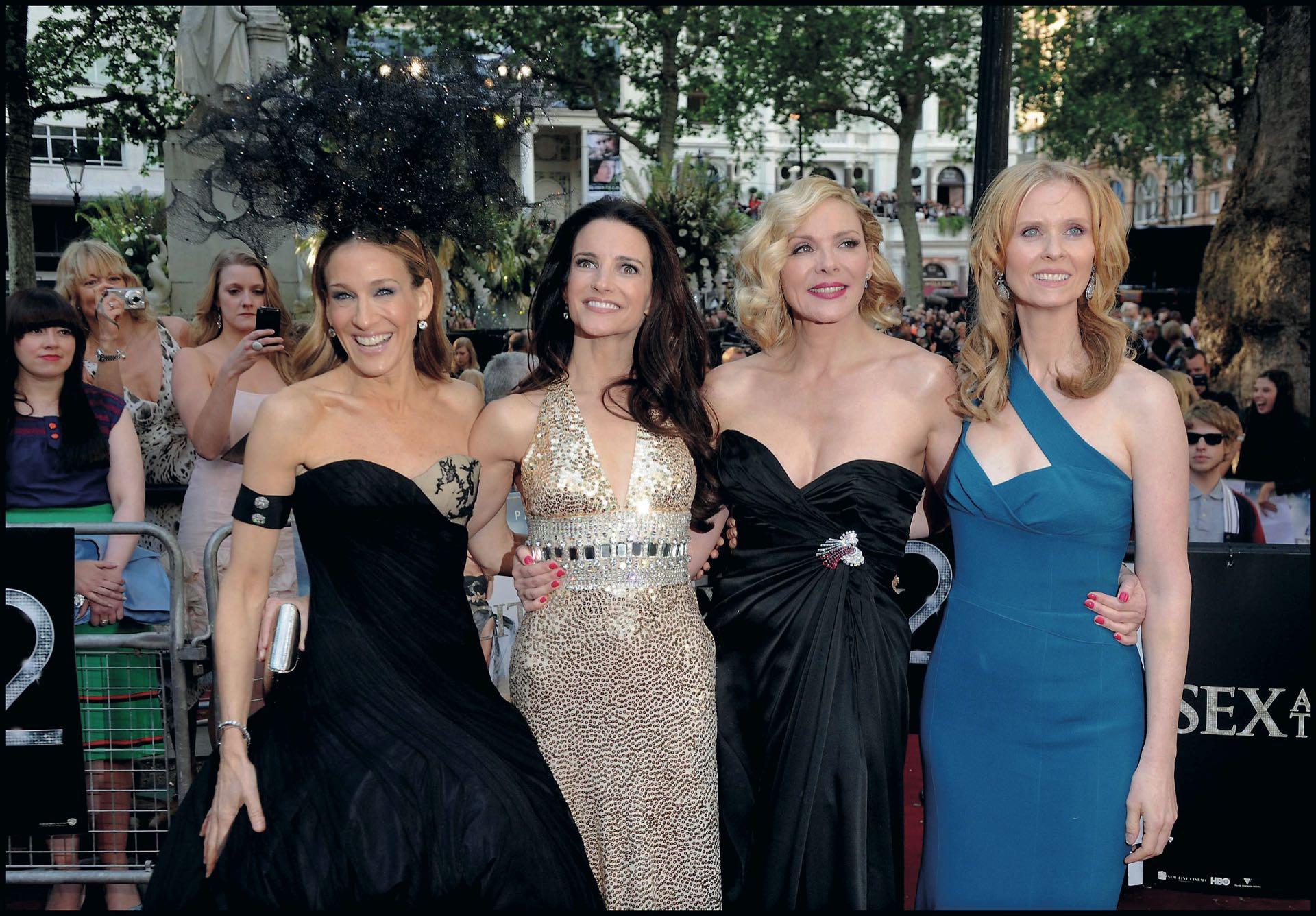 Con sus compañeras de Sex & The City.Sarah Jessica Parker, Kristin Davis, Kim Cattrall yCynthia Nixon.
