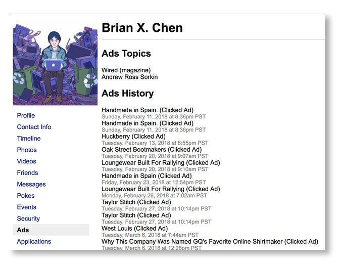 Un ejemplo de los datos que Brian Chenencontró que Facebook guardaba sobre él