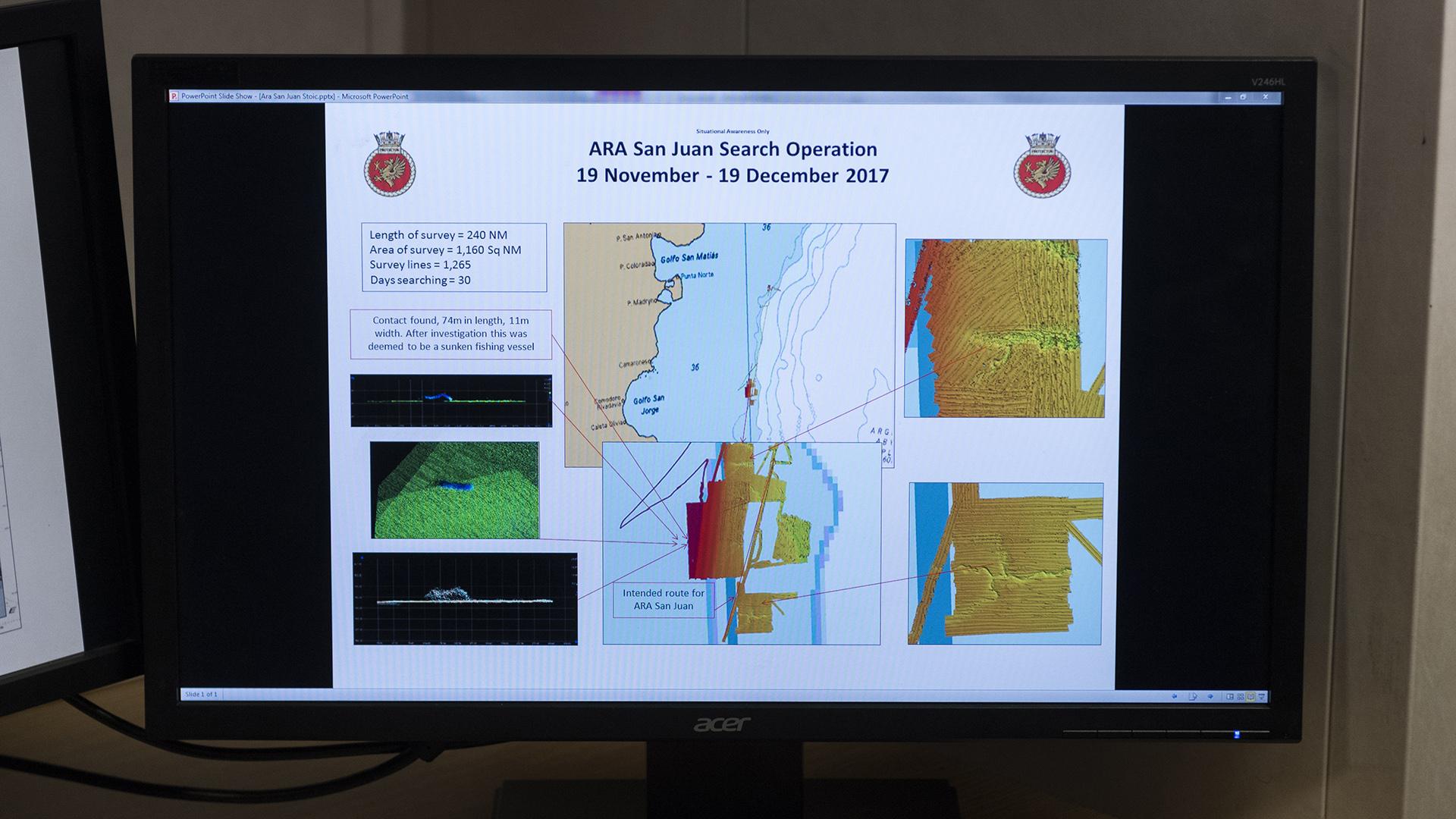 En las pantallas, la información del sonar que el HMS Protector envió a las autoridades argentinas para la búsqueda del ARA San Juan