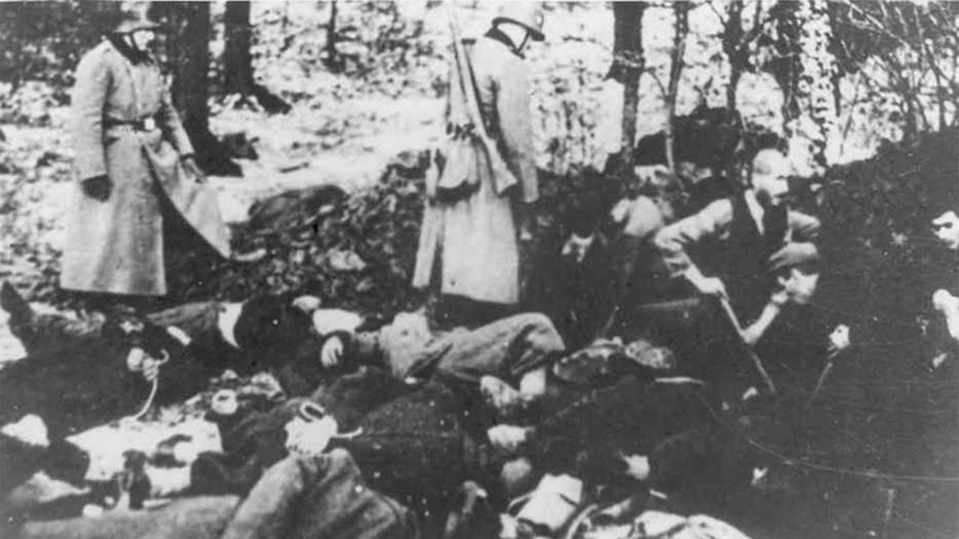 Los cuerpos en las fosas del bosque. Algunos lograban una sobrevida cavando para ocultarlos (Foto: Archivo Walter Von Reichenau)