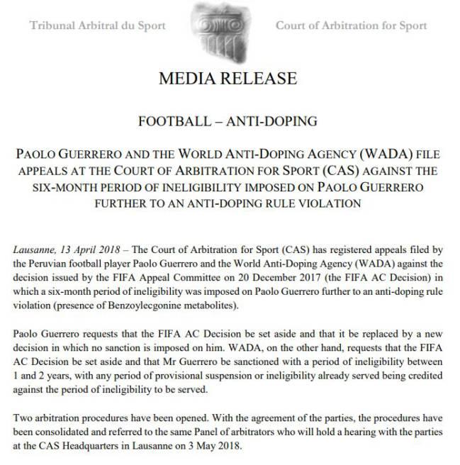 El comunicado del TAS sobre la próxima audiencia de Paolo Guerrero