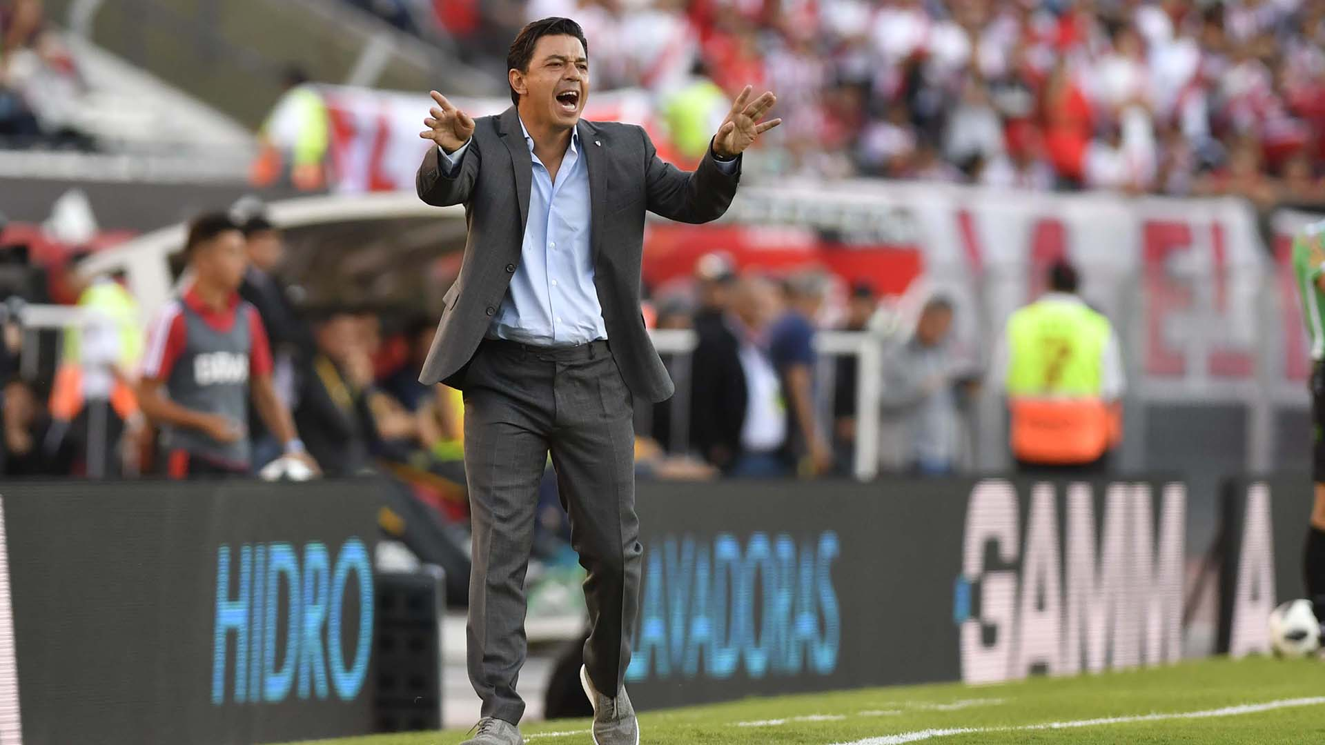 Marcelo Gallardo, DT de River Plate que superó a Rosario Central en el estadio Monumental, por la 23ra. fecha de la Superliga. (Foto: Télam)