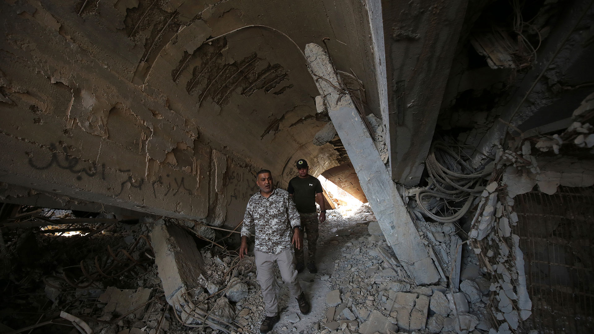 La tumba del dictador fue destruida en combates contra el ISIS (AFP)