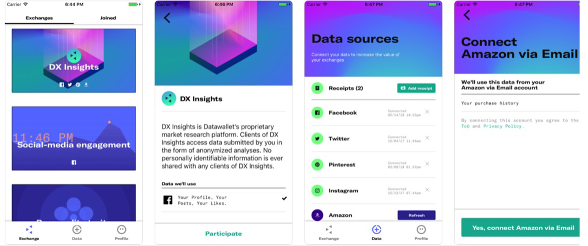 Data Wallet (disponible para iOS y Android) propone que los usuarios administren y moneticen sus datos personales