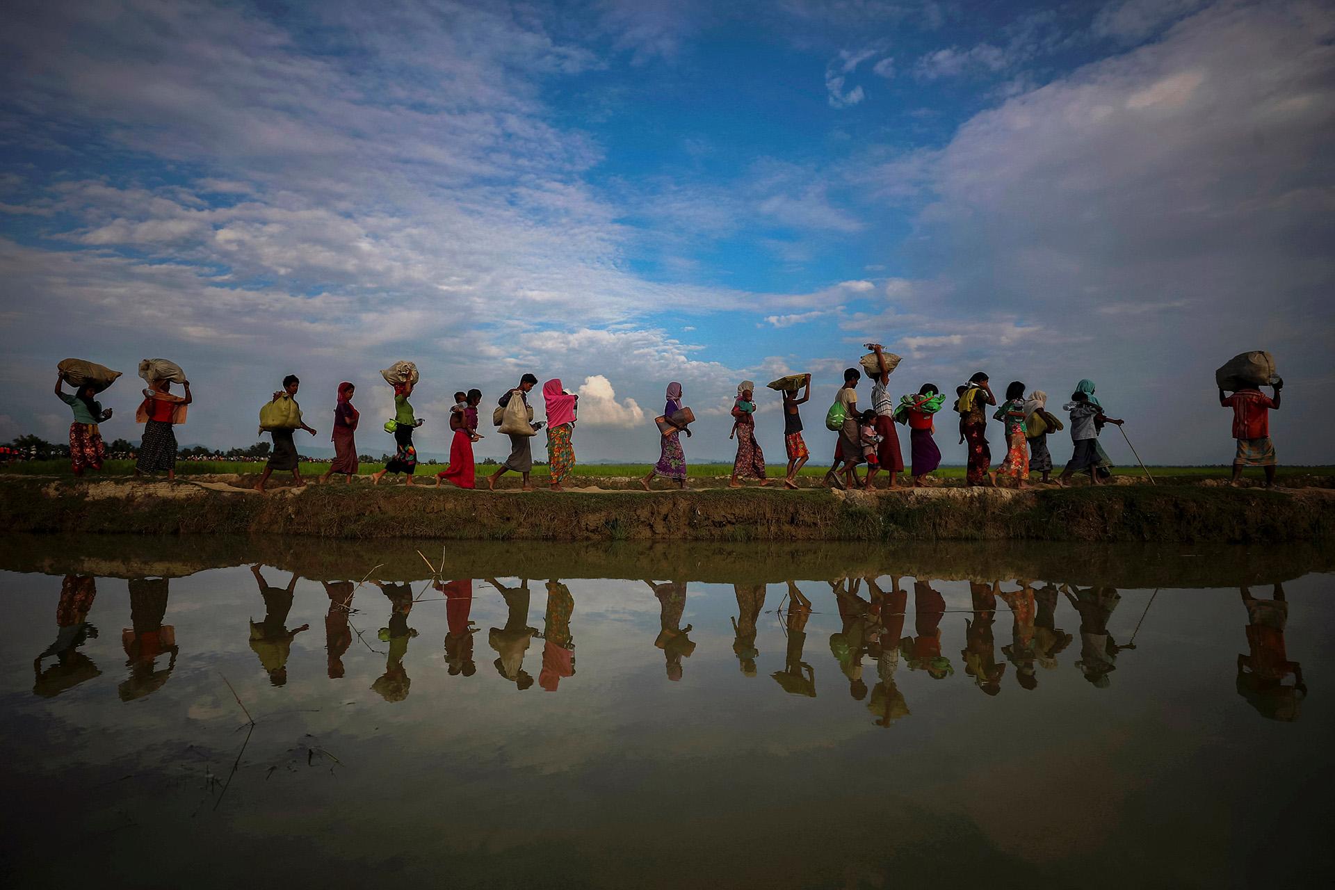 Refugiados de Rohingya se reflejan en el agua de lluvia a lo largo de un terraplén junto a campos de arroz después de huir de Myanmar a Palang Khali, cerca de Cox's Bazar, Bangladesh 2 de noviembre de 2017. (Hannah McKay)