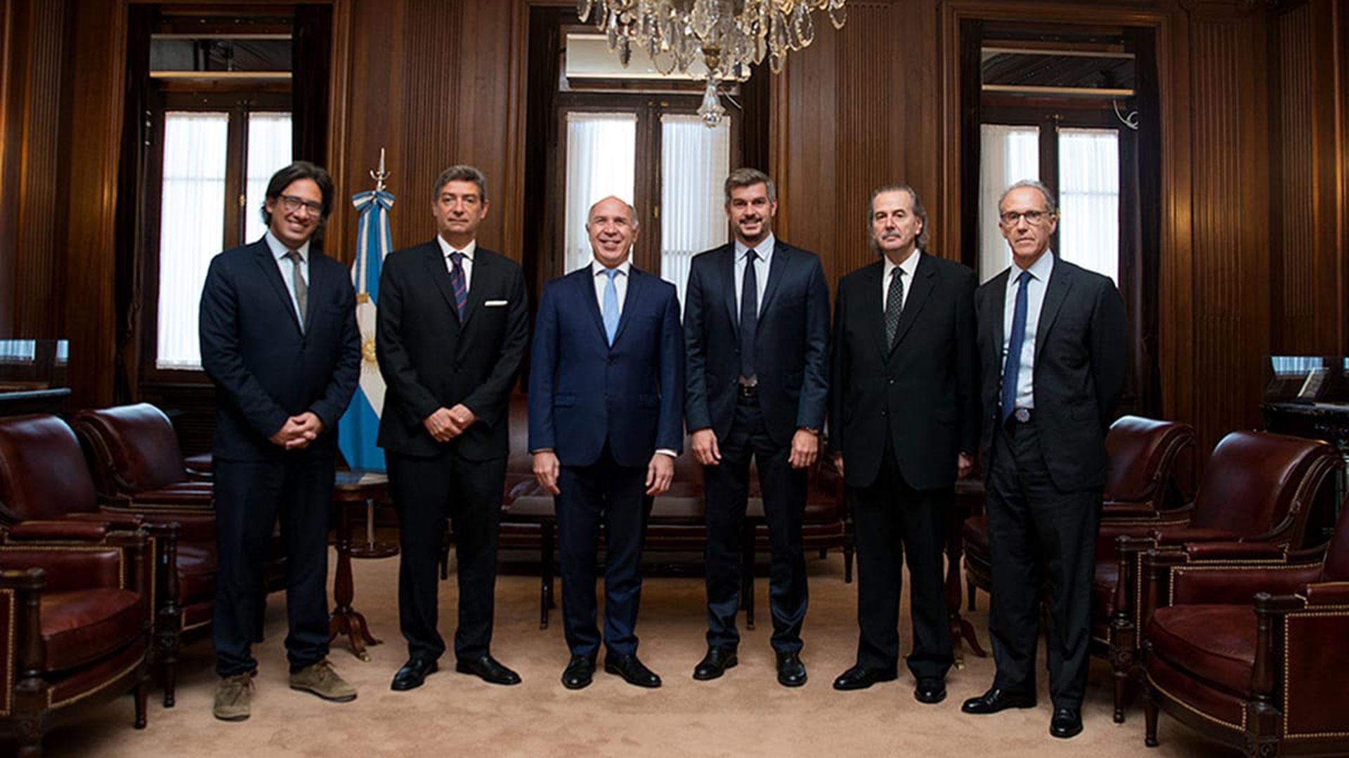 Germán Garavano, Horacio Rosatti, Ricardo Lorenzetti, Marcos Peña, Juan Carlos Maqueda y Carlos Rosenkrantz