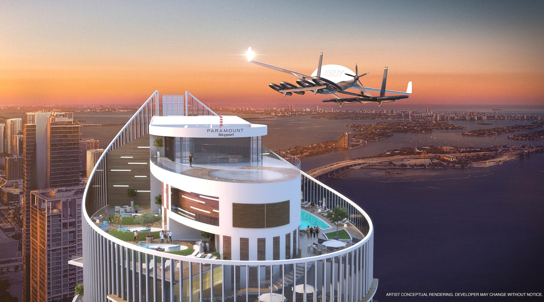 Unaproyeccióndel skyport del Paramount Miami World Center, para automóviles voladores.