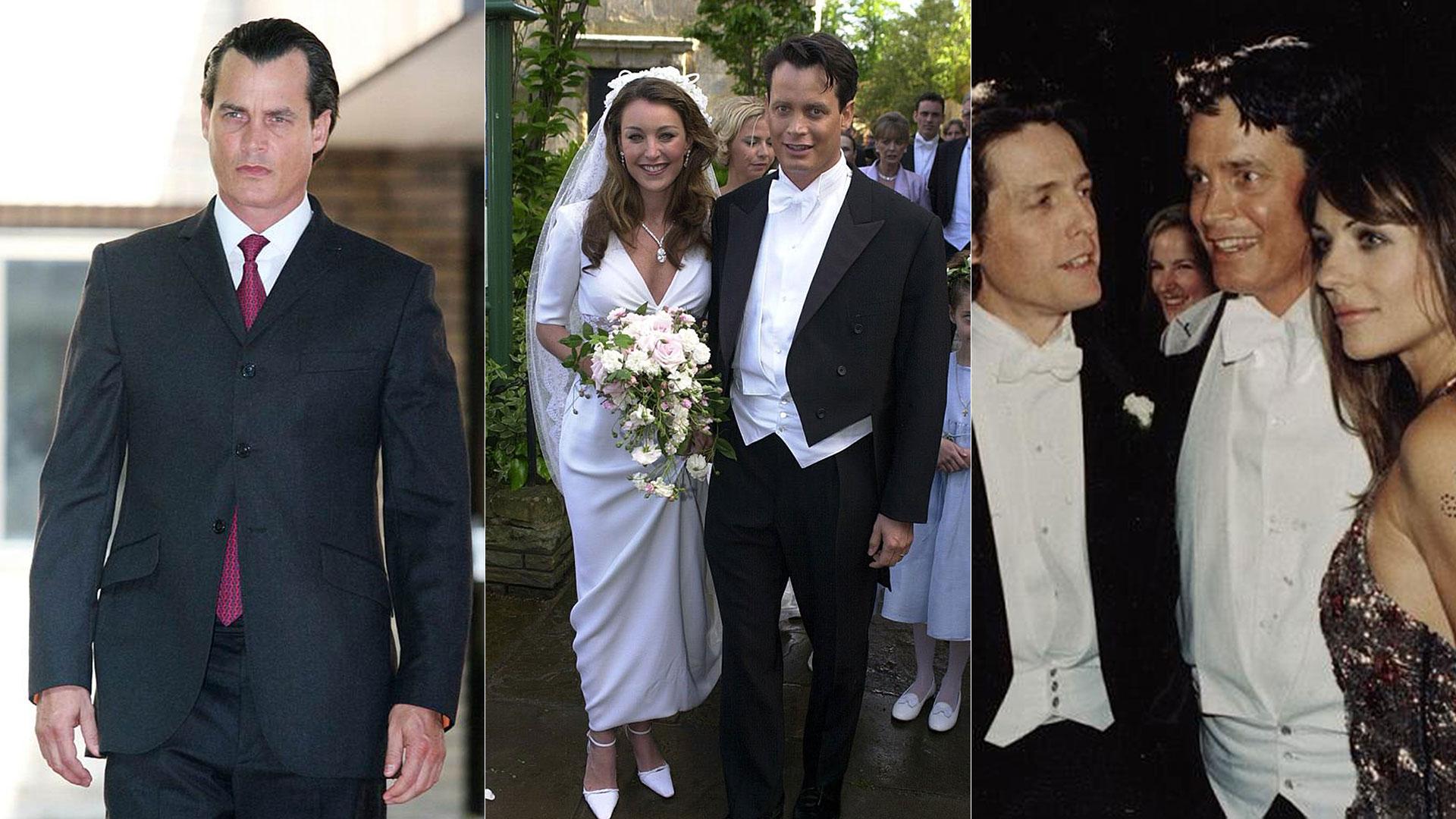 Matthew Mellon en diferentes momentos de su vida: en 2006 durante un juicio, en su boda con Tamara Mellon en 2000 y en su fiesta con los invitados Hugh Grant y Liz Hurley
