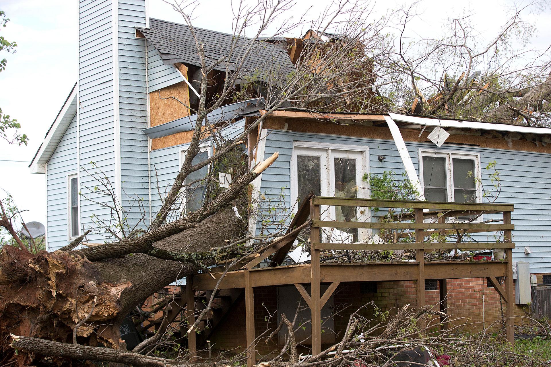 Un árbol caído partió esta casa en Nealtown Road, Greensboro