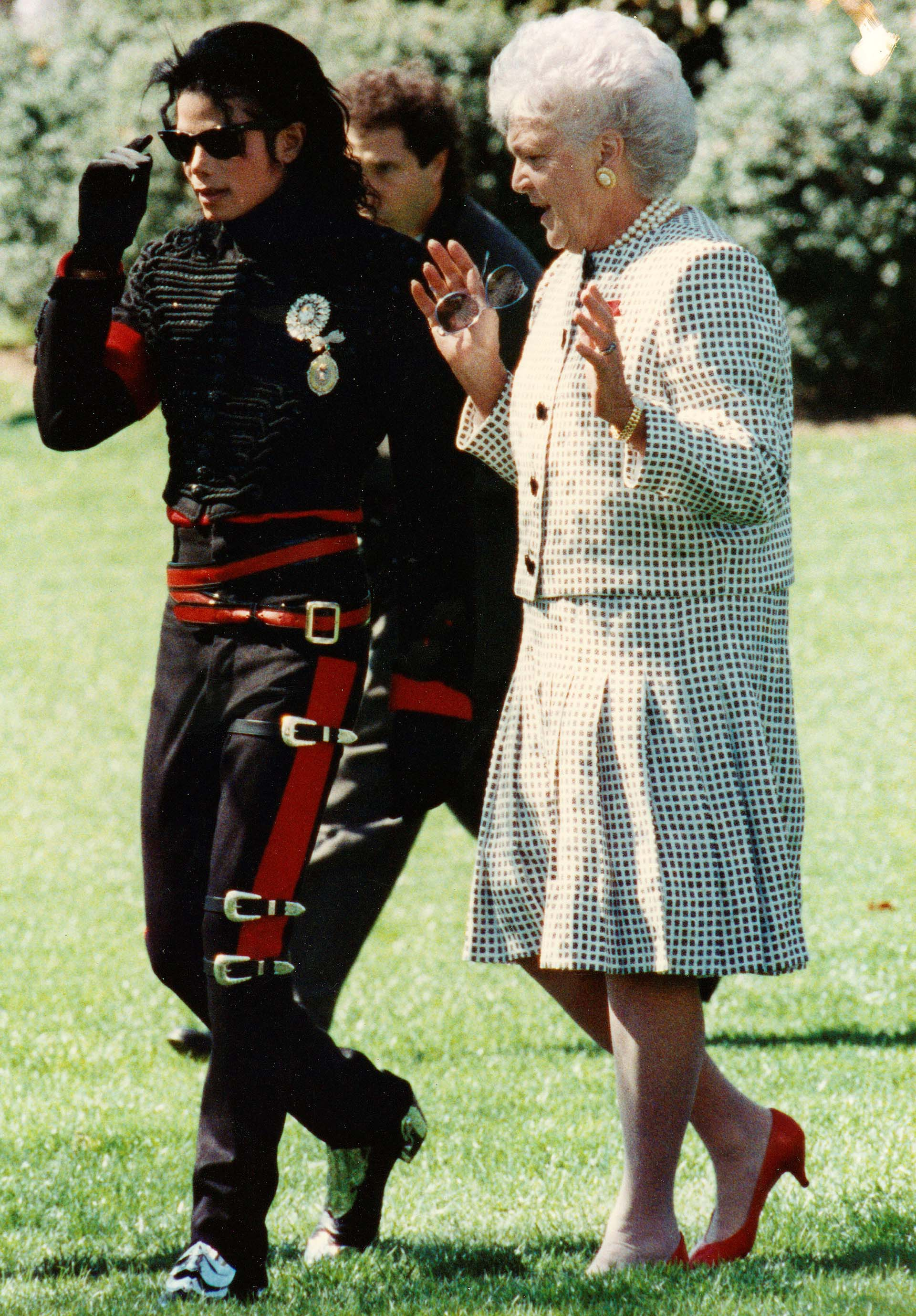 Junto a Michael Jackson en la Casa Blanca en los años '90