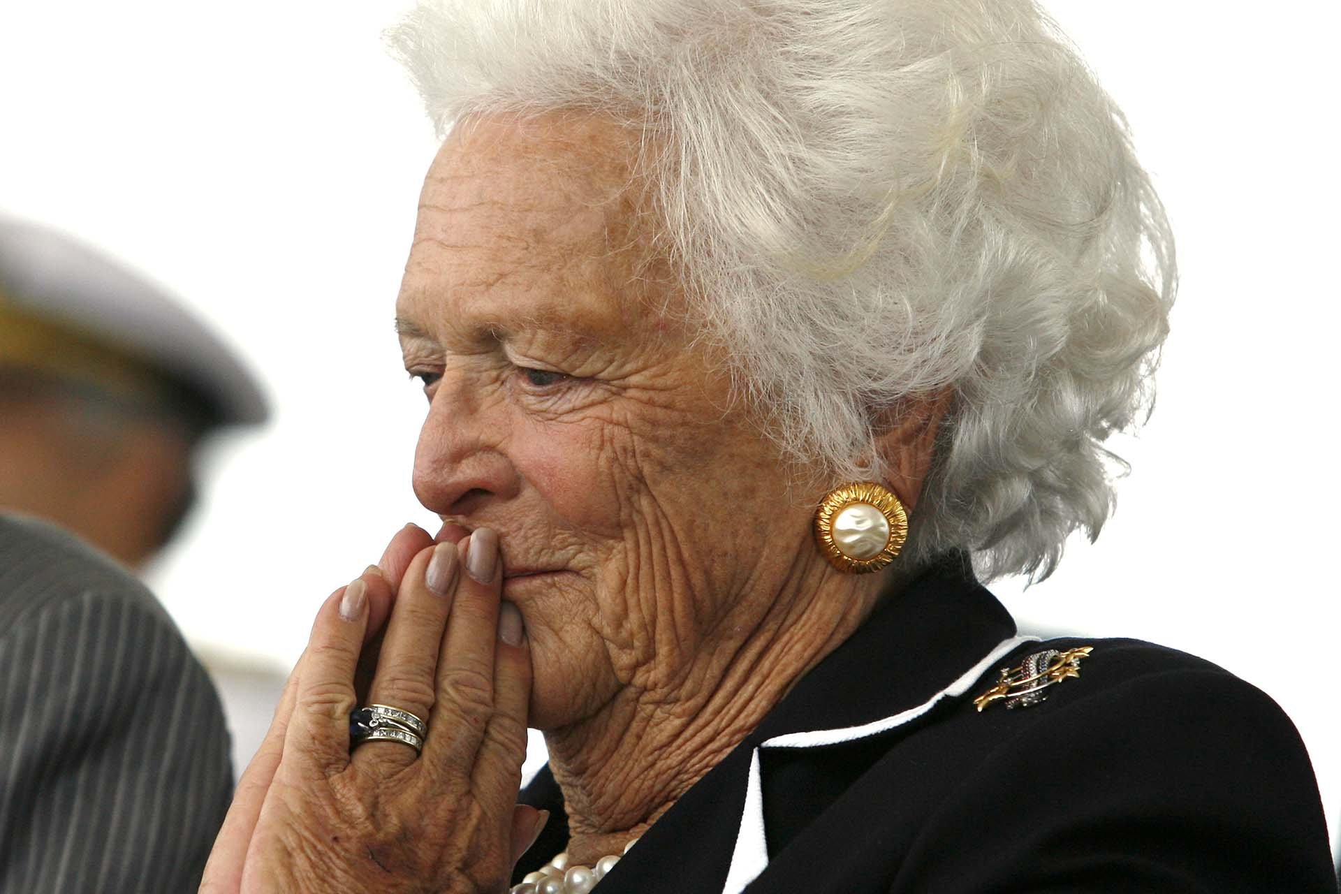 En la ceremonia de inauguración del barcoUSS George H.W. Bush en Newport News, Virginia, (REUTERS/Kevin Lamarque)