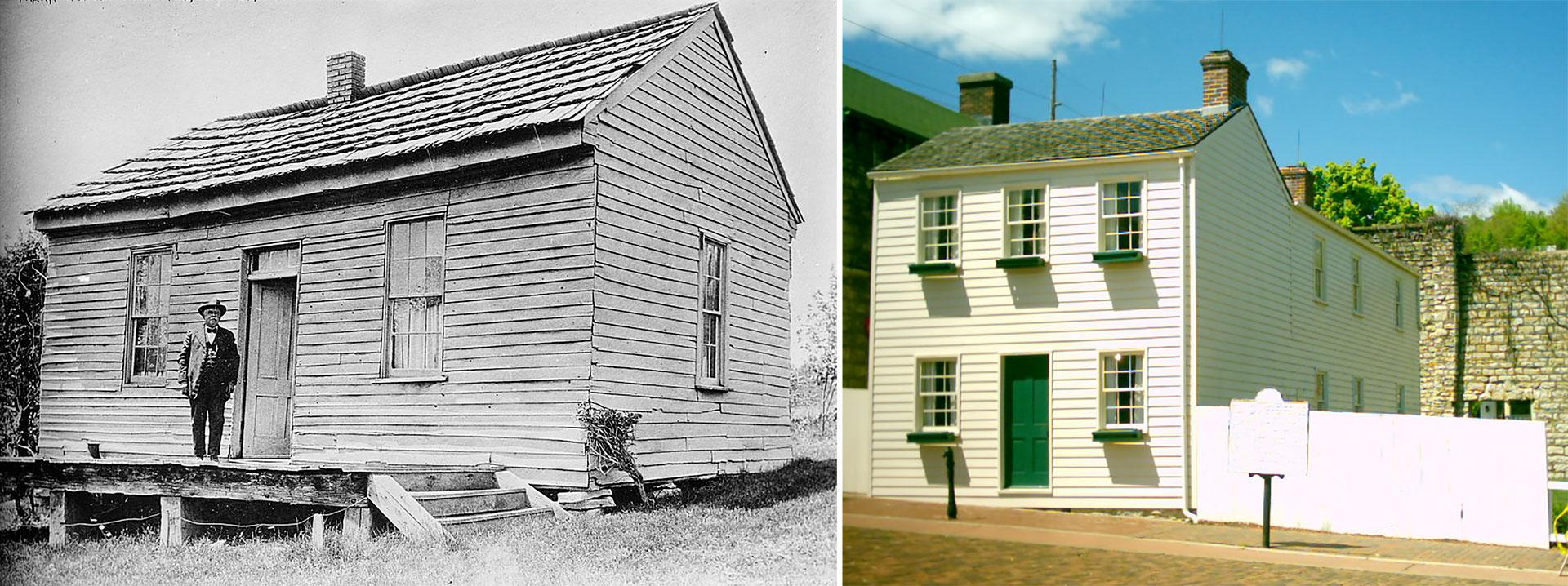 A la izquierda, la casa donde nació en Florida y a la derecha, su hogar en Hannibal
