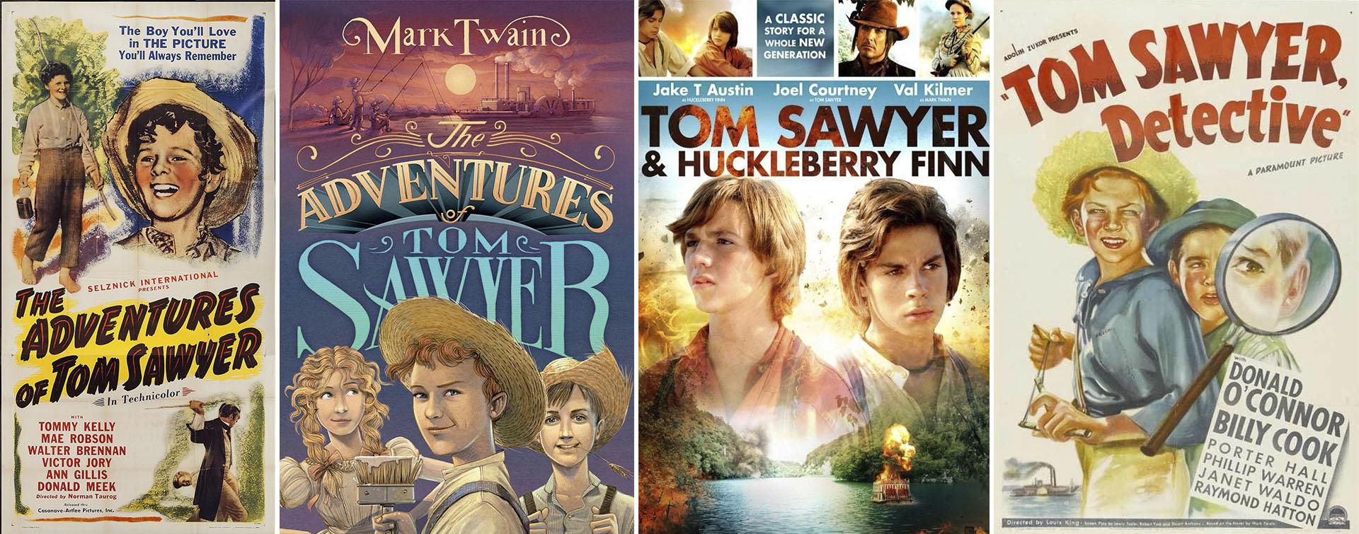 Algunos afiches de las infinitas películas que se realizaron sobre Tom Sawyer