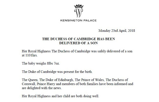Comunicado oficial del Palacio de Kensington del nacimiento del tercer hijo de los duques de Cambridge