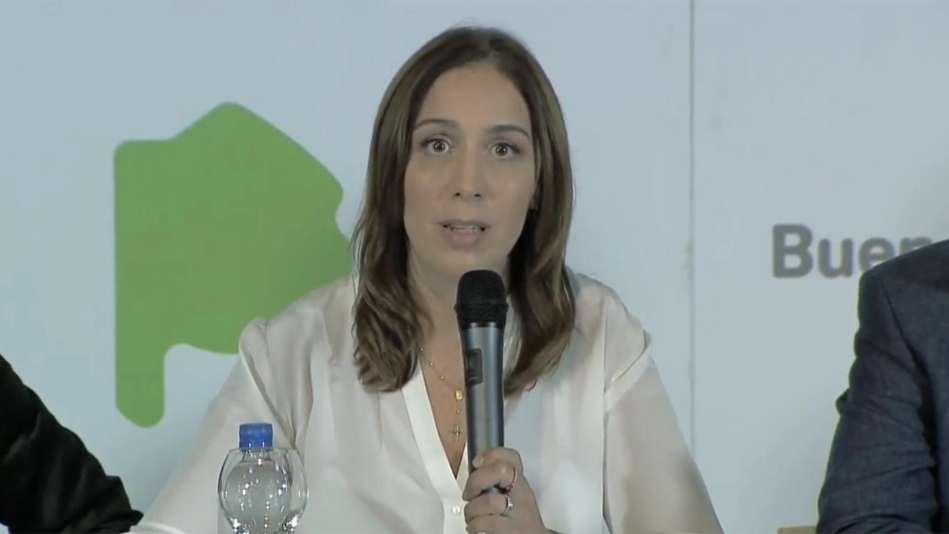 Acción coordinada. Luego del mensaje de Macri, María Eugenia Vidal anunció la baja de impuestos