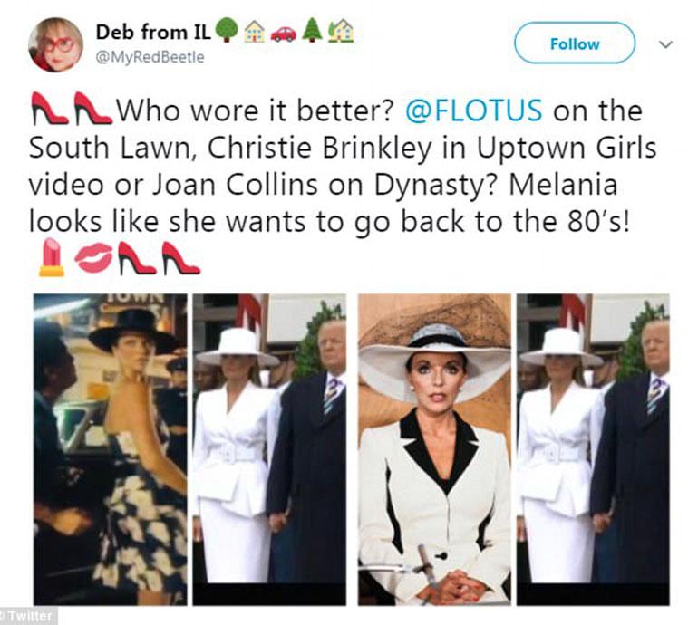 A quién le queda mejor, a Christie Brinkley en Uptwon Girls o Joan Collins en Dynasty. Parece que Melania quiere volver a los 80