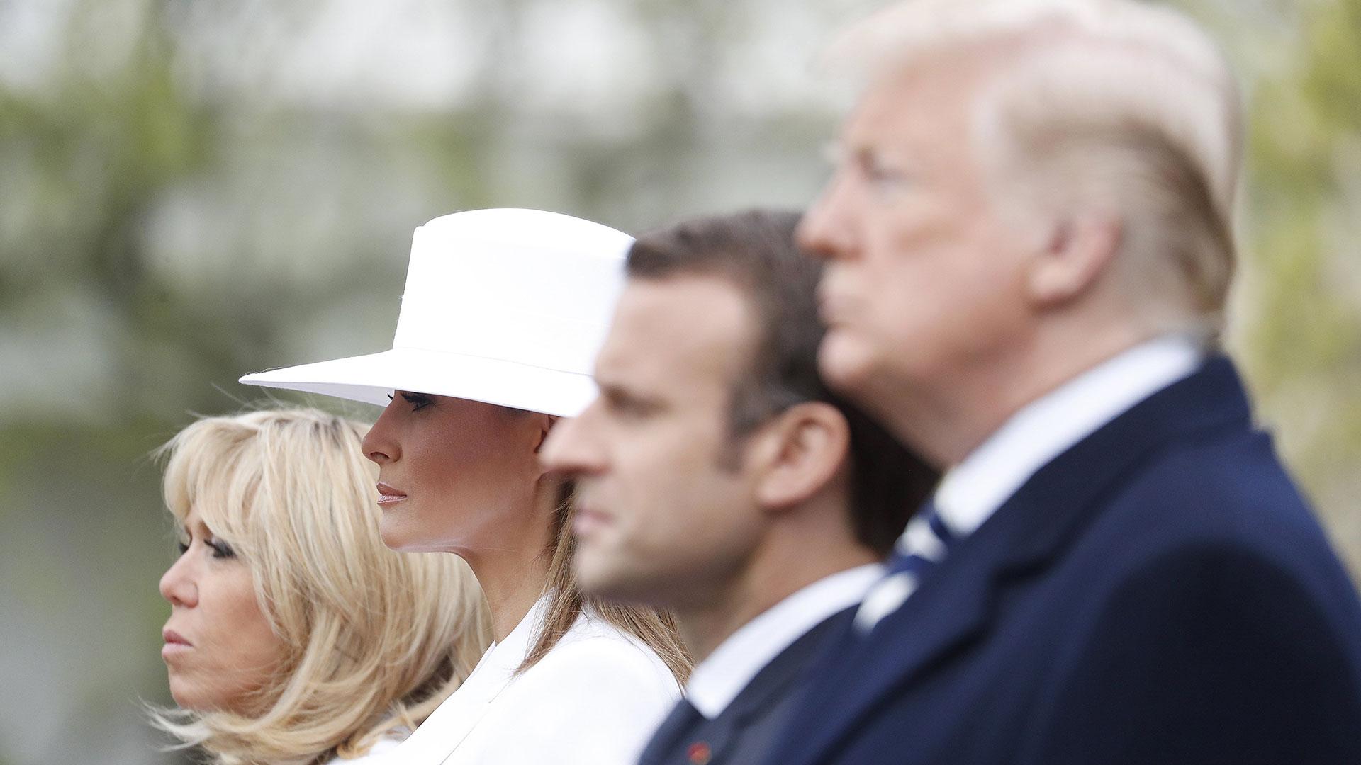 Trump, Macron y sus esposas, durante la última visita del francés a la Casa Blanca (EFE)
