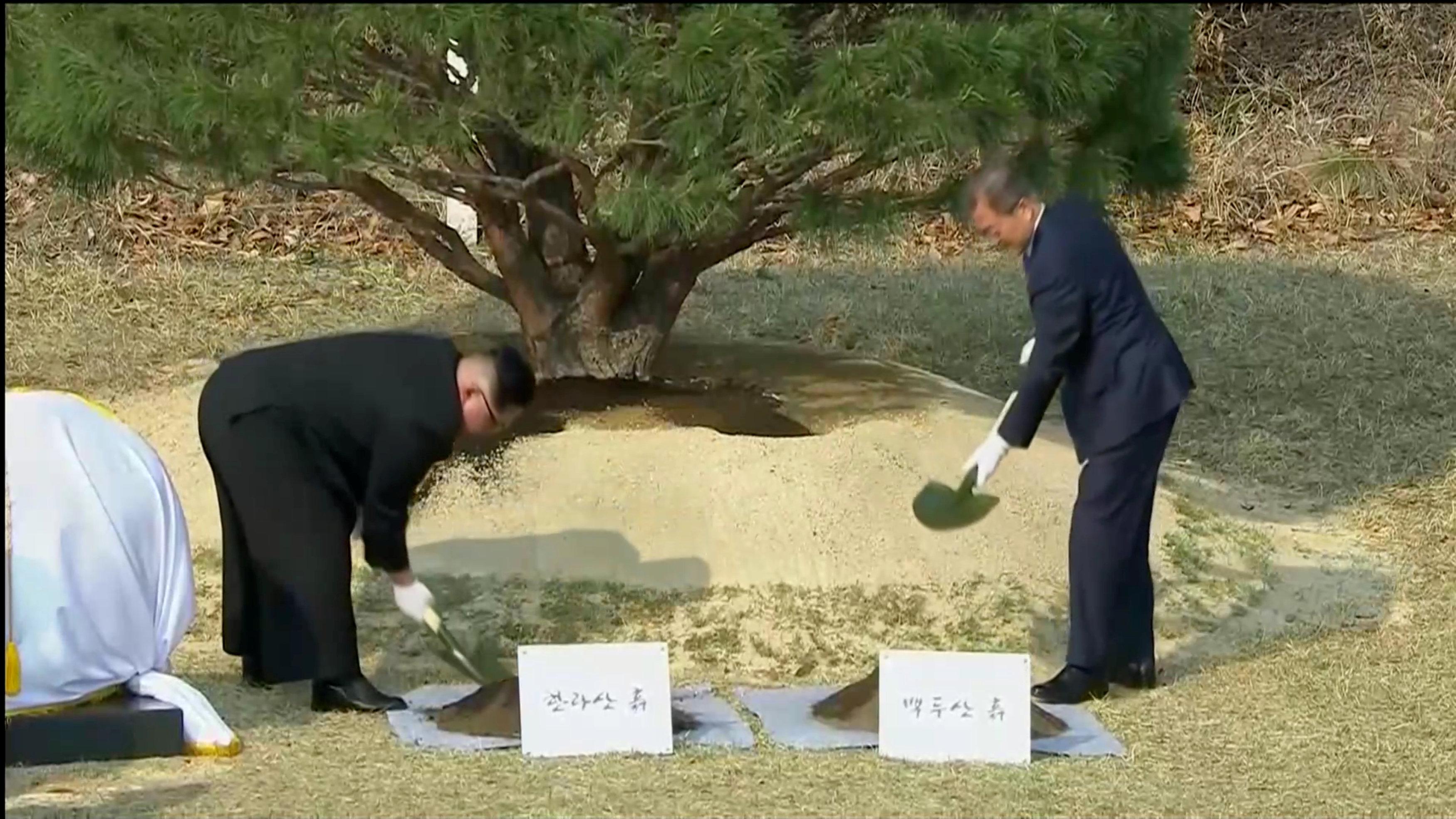 Momento en el los dos líderes realizan una ceremonia de plantar un árbol.