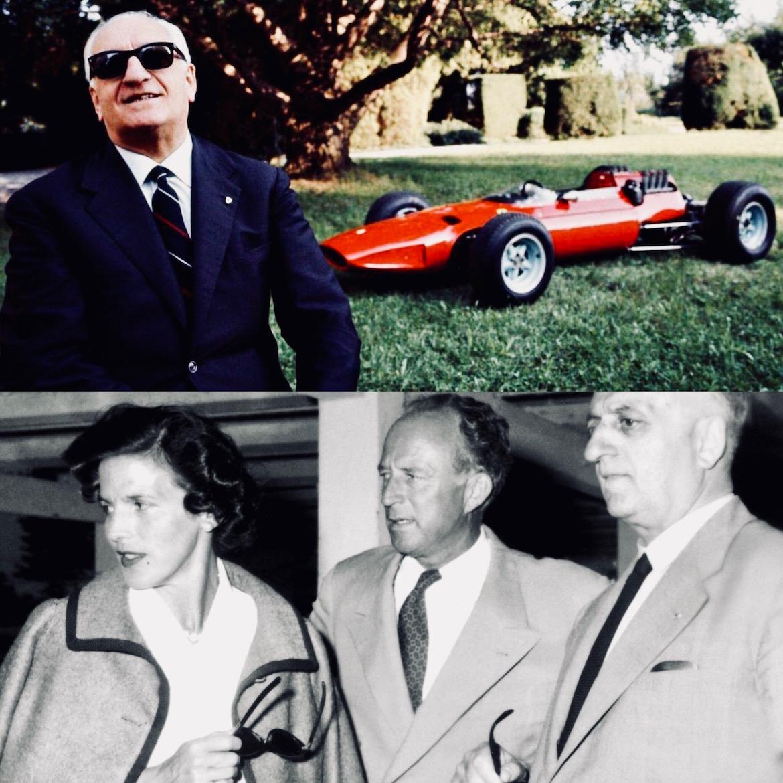 Ferrari junto a su amante Lina Lari, con quien tuvo a su hijo Piero, fruto de su relación extra matrimonial. Su esposa Laura fue la madre de Alfredo, quien falleció a los 24 años de distrofia muscular