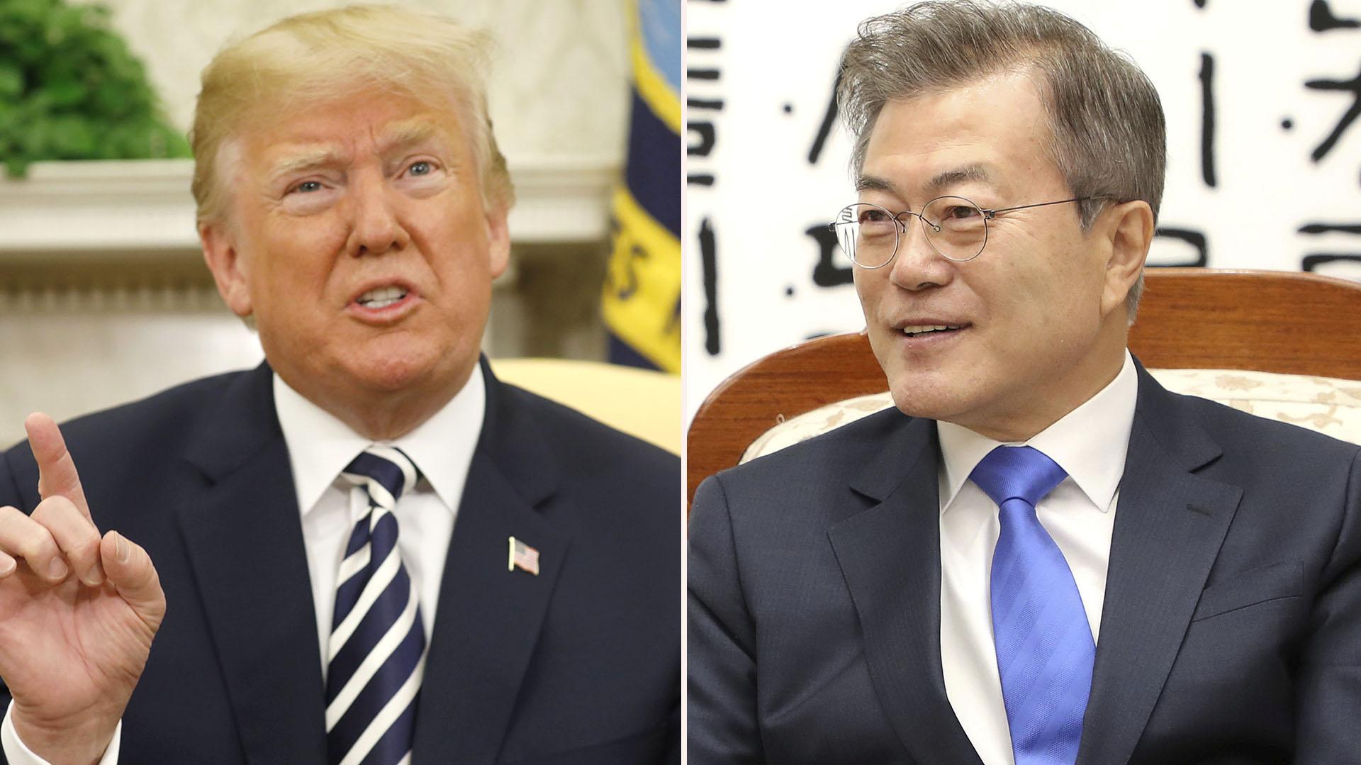 Los presidentes de Estados Unidos y Corea del Sur Donald Trump y Moon Jae-in