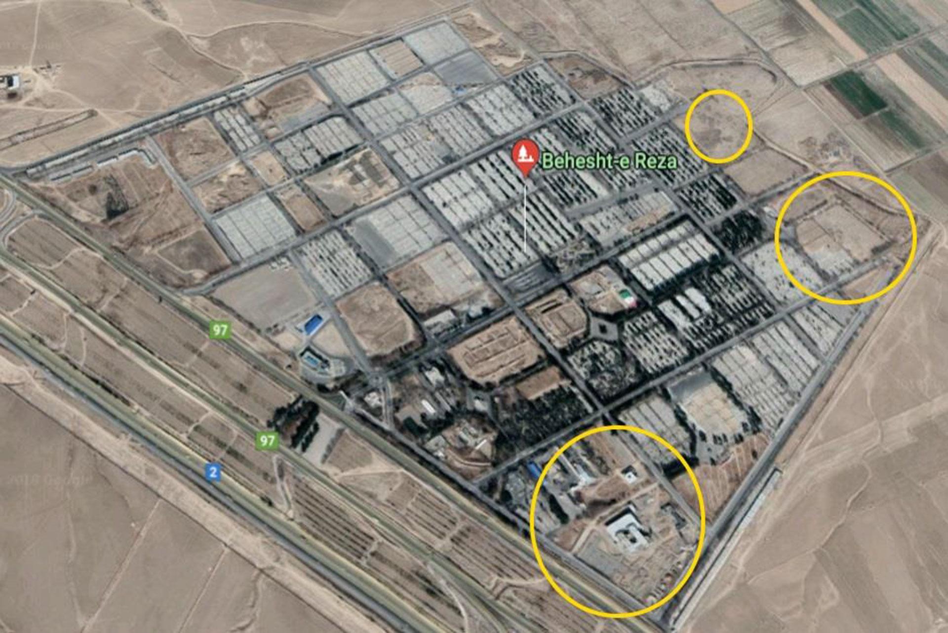 Aquí se marcan los lugares que fueron reconvertidos por el régimen persa
