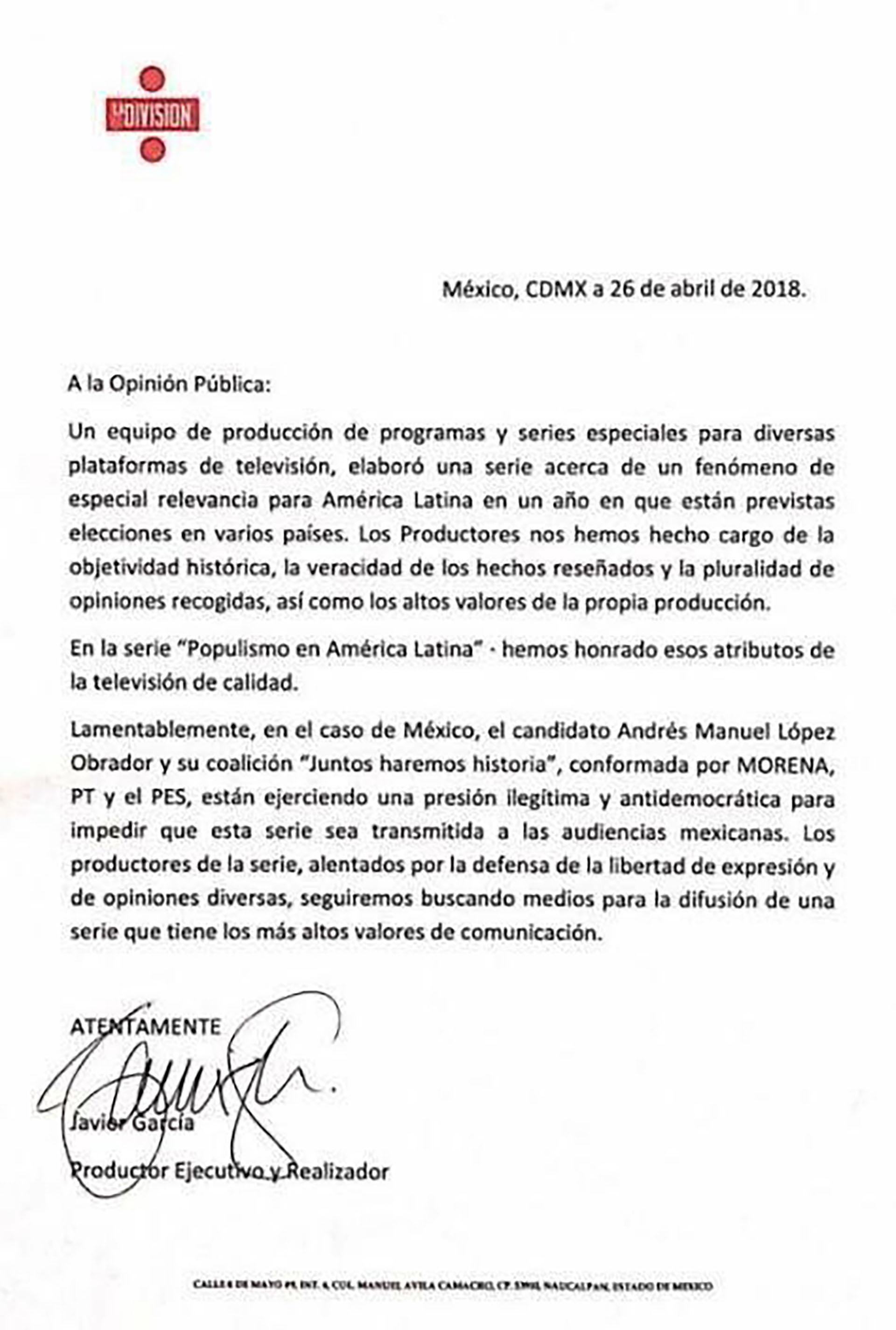 Comunicado de la productora La División en el que acusa presión política del candidato López Obrador.