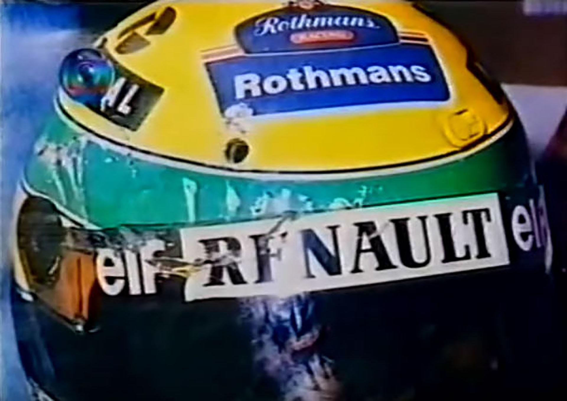 El casco de Ayrton Senna sufrió rayones y golpes después del impacto del Williams en la curva Tamburello