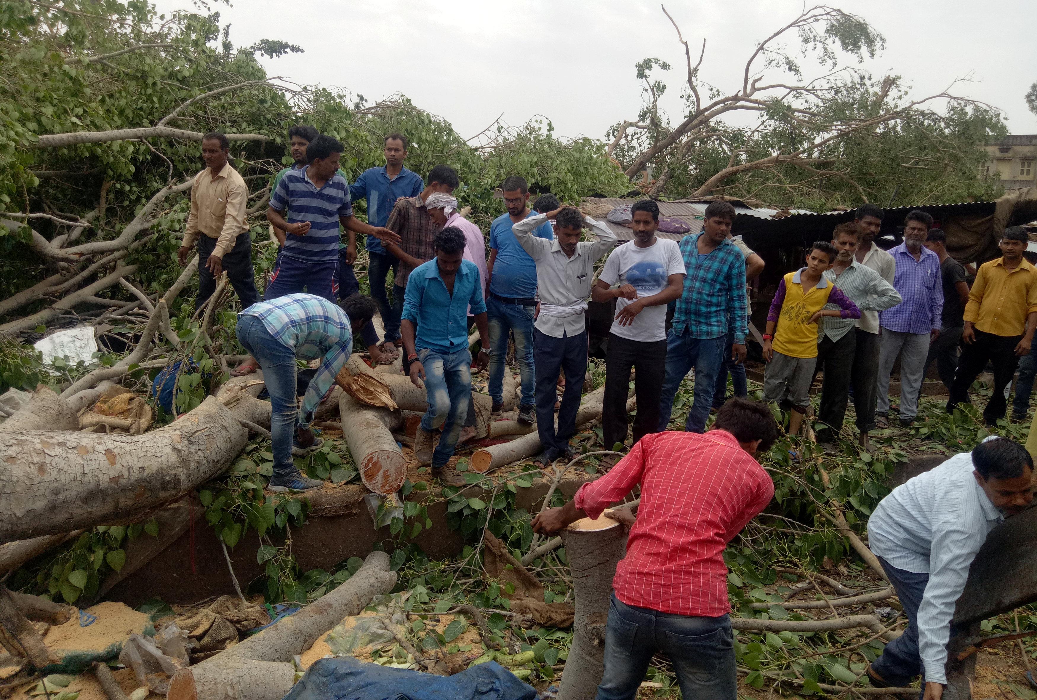 La gente intenta liberar un camino que quedó tapado por un árbol caído(Reuters)