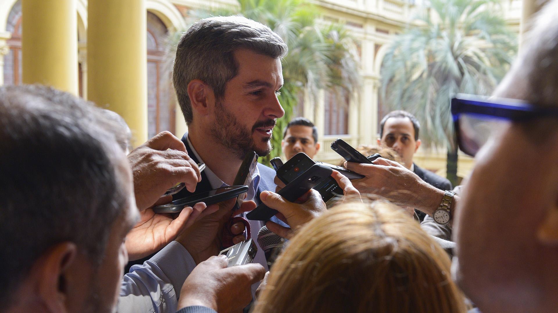 Marcos Peña habló ayer con la prensa acreditada en Casa Rosada