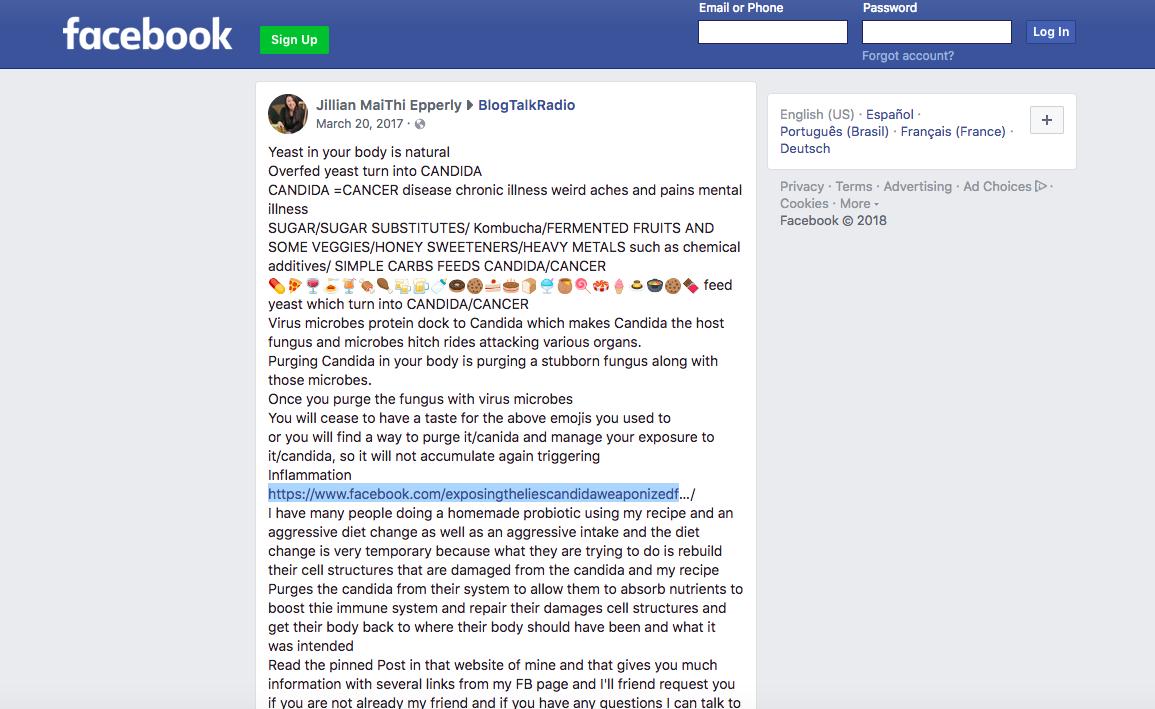 """Jilian Epperlysigue argumentando, ahora desde su página, que """"purgar la cándida"""" es la solución a todas las dolencias. (Facebook)"""
